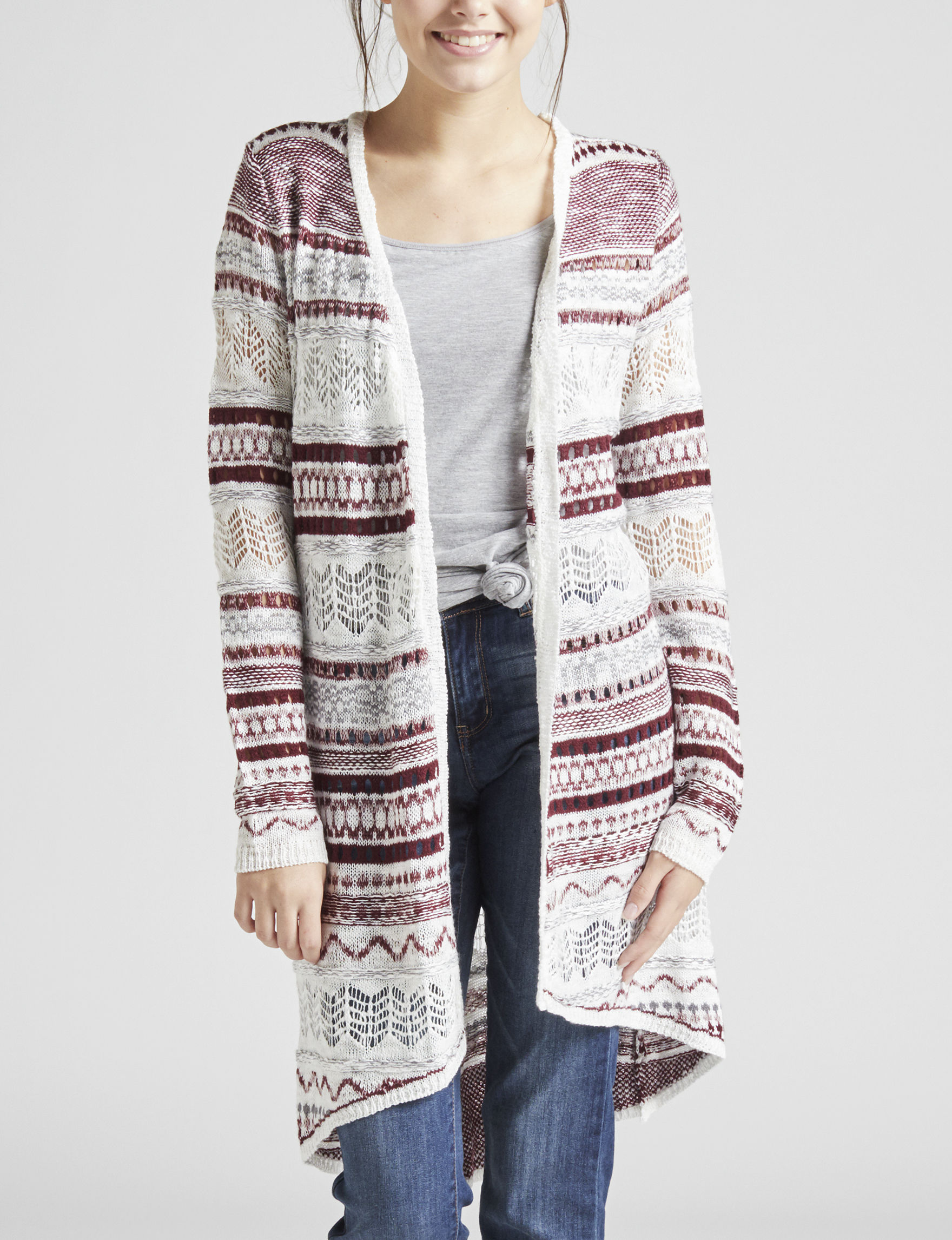 Almost Famous White Multi Cardigans