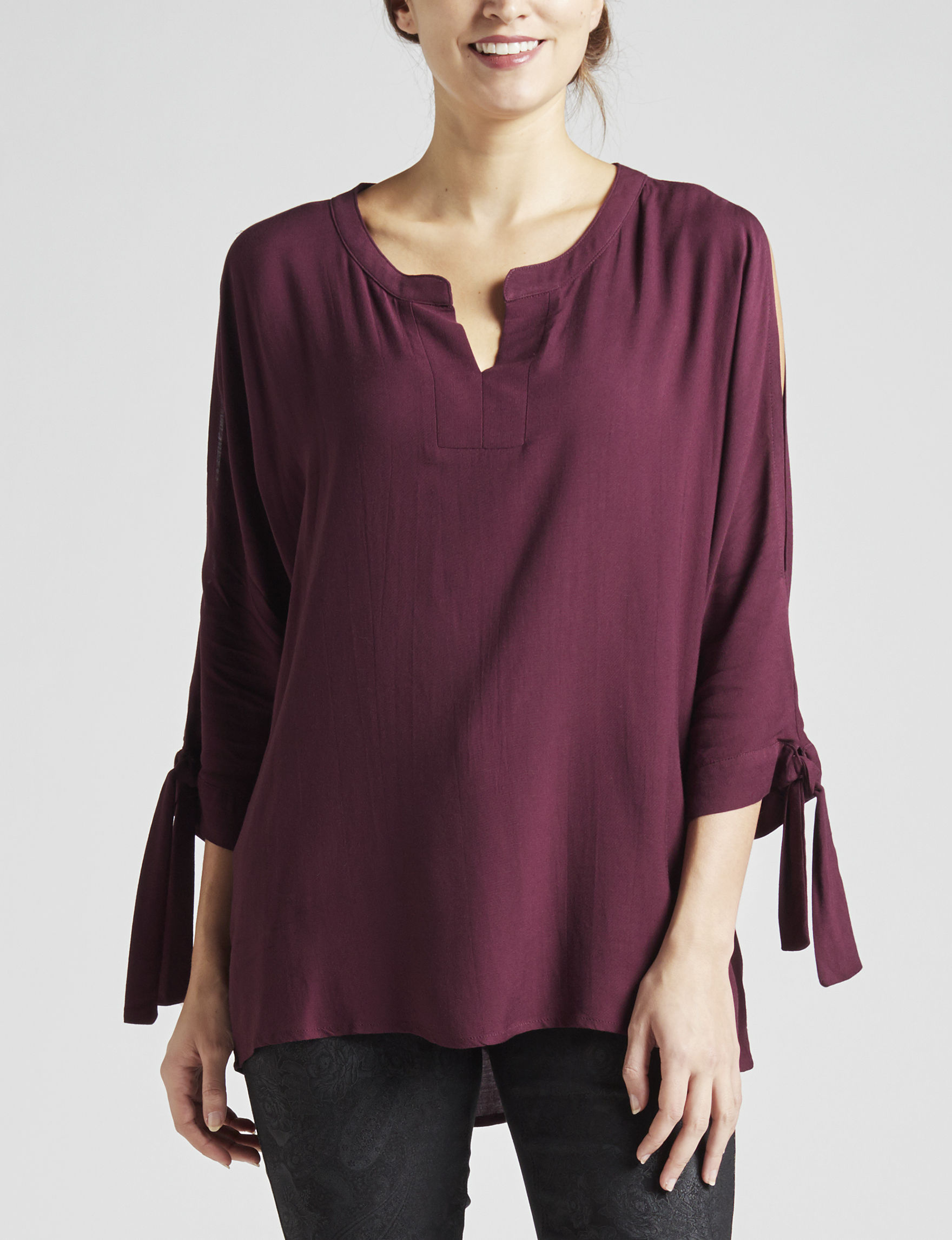 Signature Studio Burgundy Shirts & Blouses
