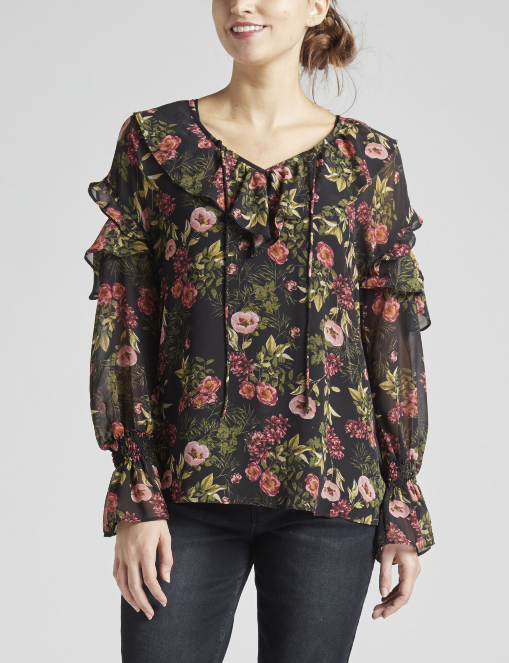 Kensie Black Floral Shirts & Blouses