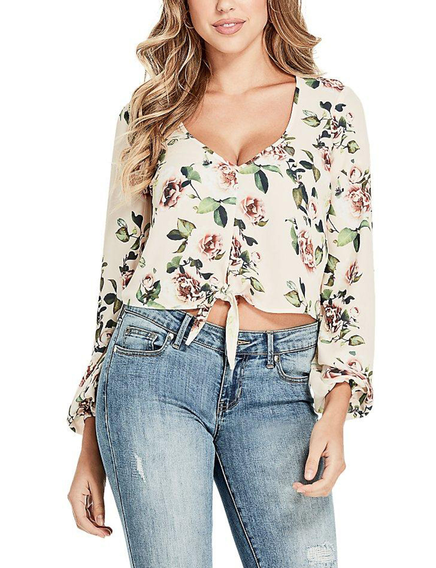 G by Guess Beige Floral Crop Tops Shirts & Blouses