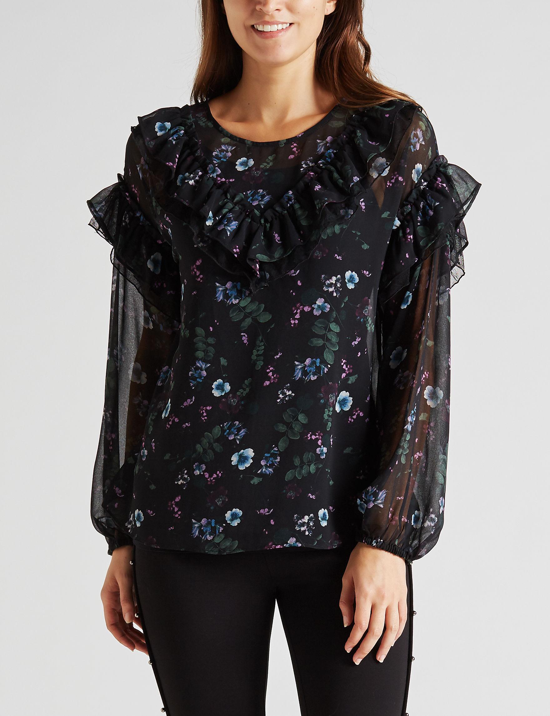 Kensie Black Shirts & Blouses