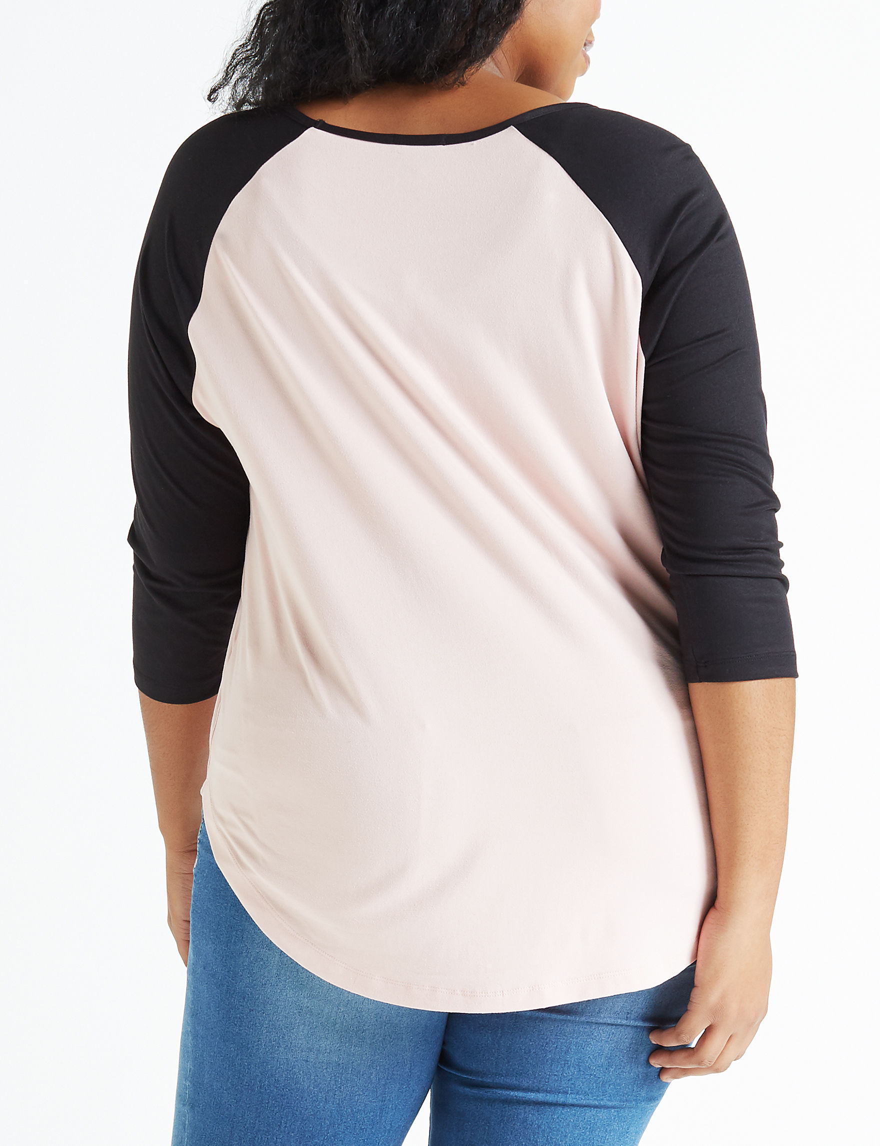 bd2b6e086 Justify Juniors' Plus Size Love Color Block Raglan Top | Stage Stores