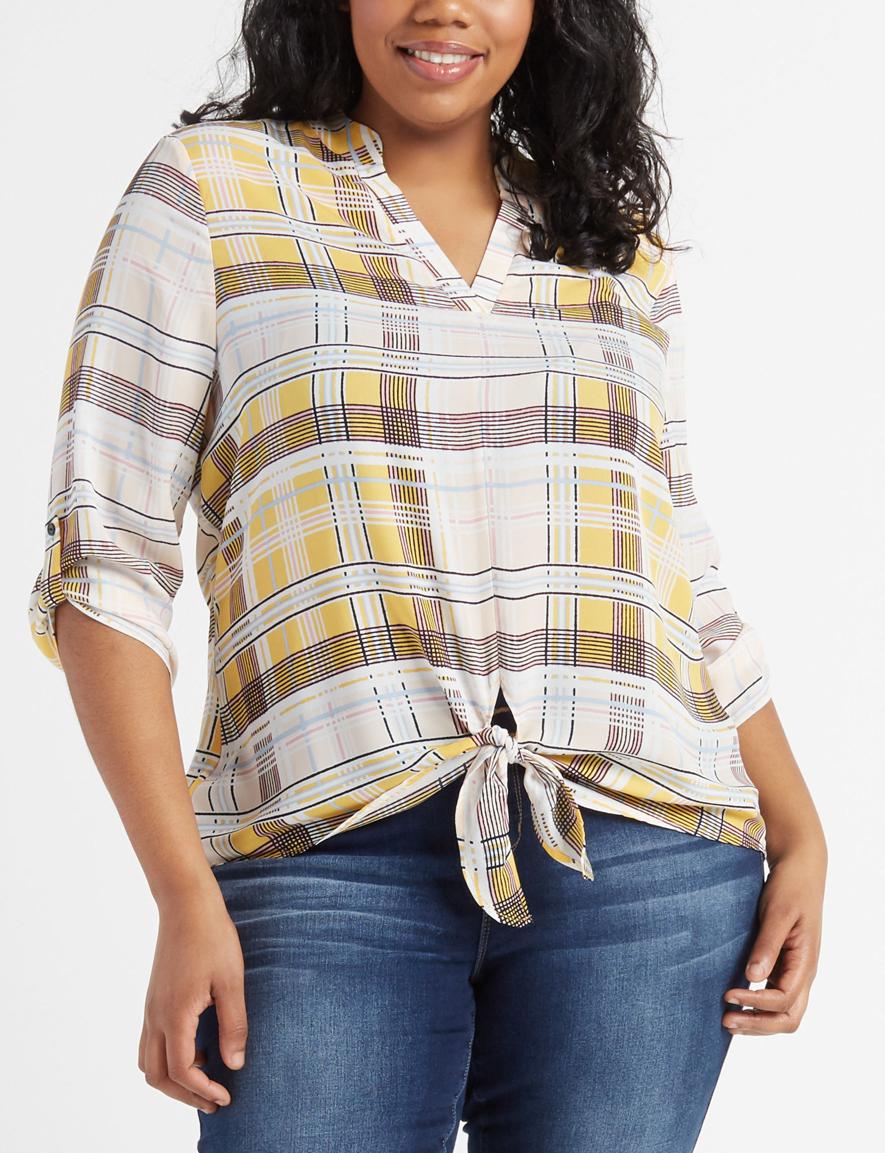Liberty Love Yellow Plaid Shirts & Blouses