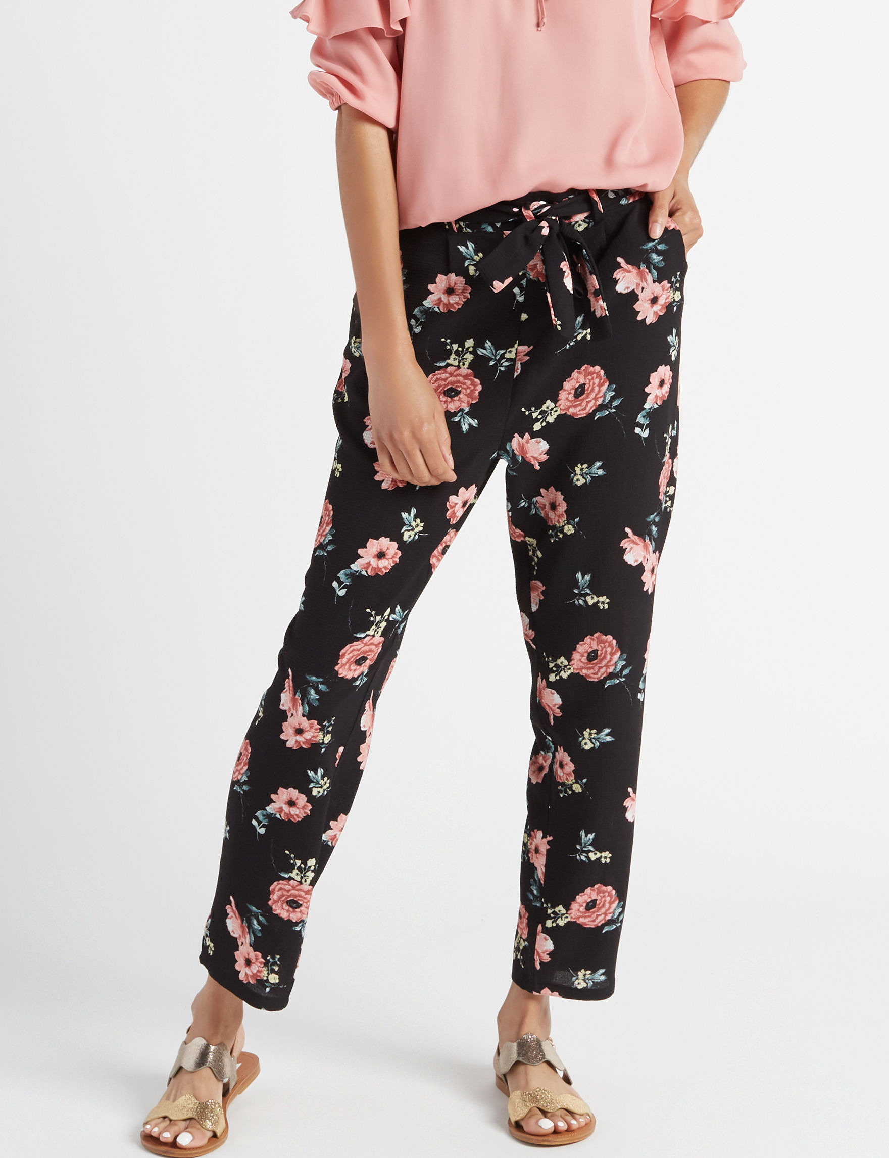 Justify Black Floral Skinny Soft Pants Tapered