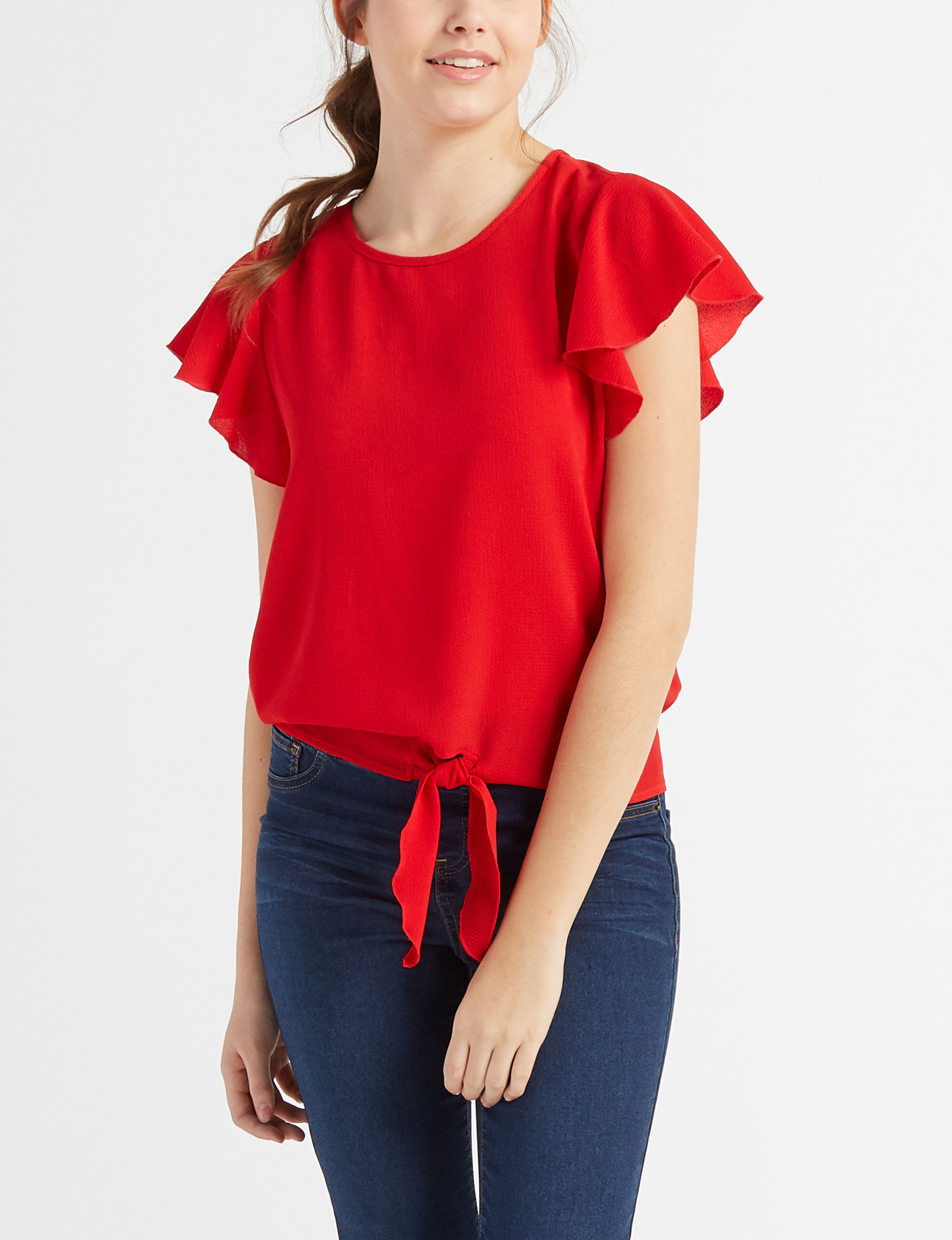 Justify Red Shirts & Blouses