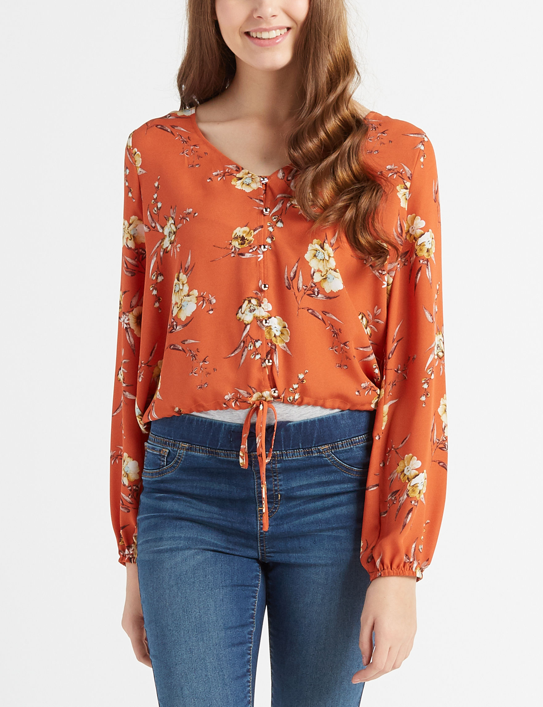 Justify Red Floral Shirts & Blouses