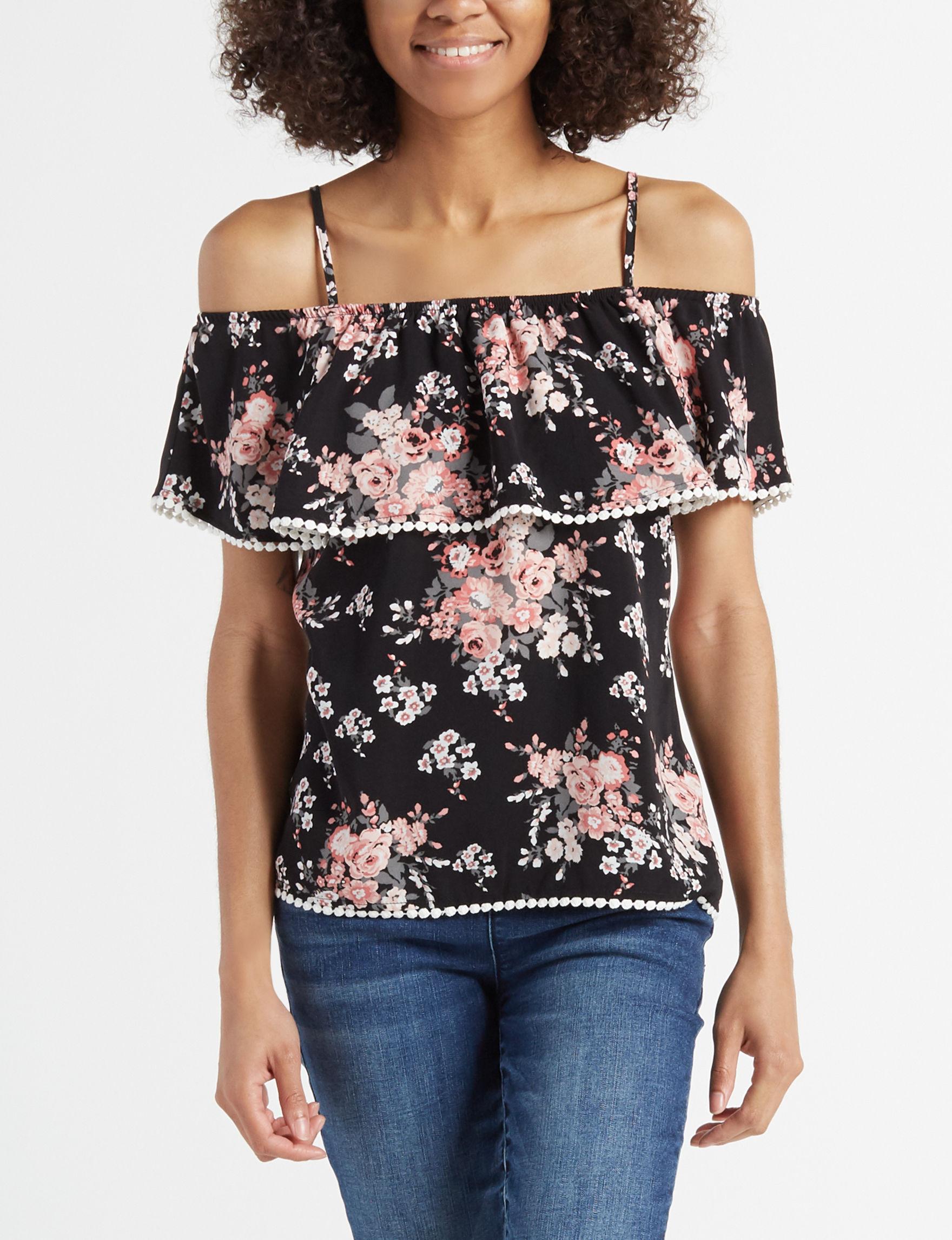 Miss Chievous Black Floral Shirts & Blouses