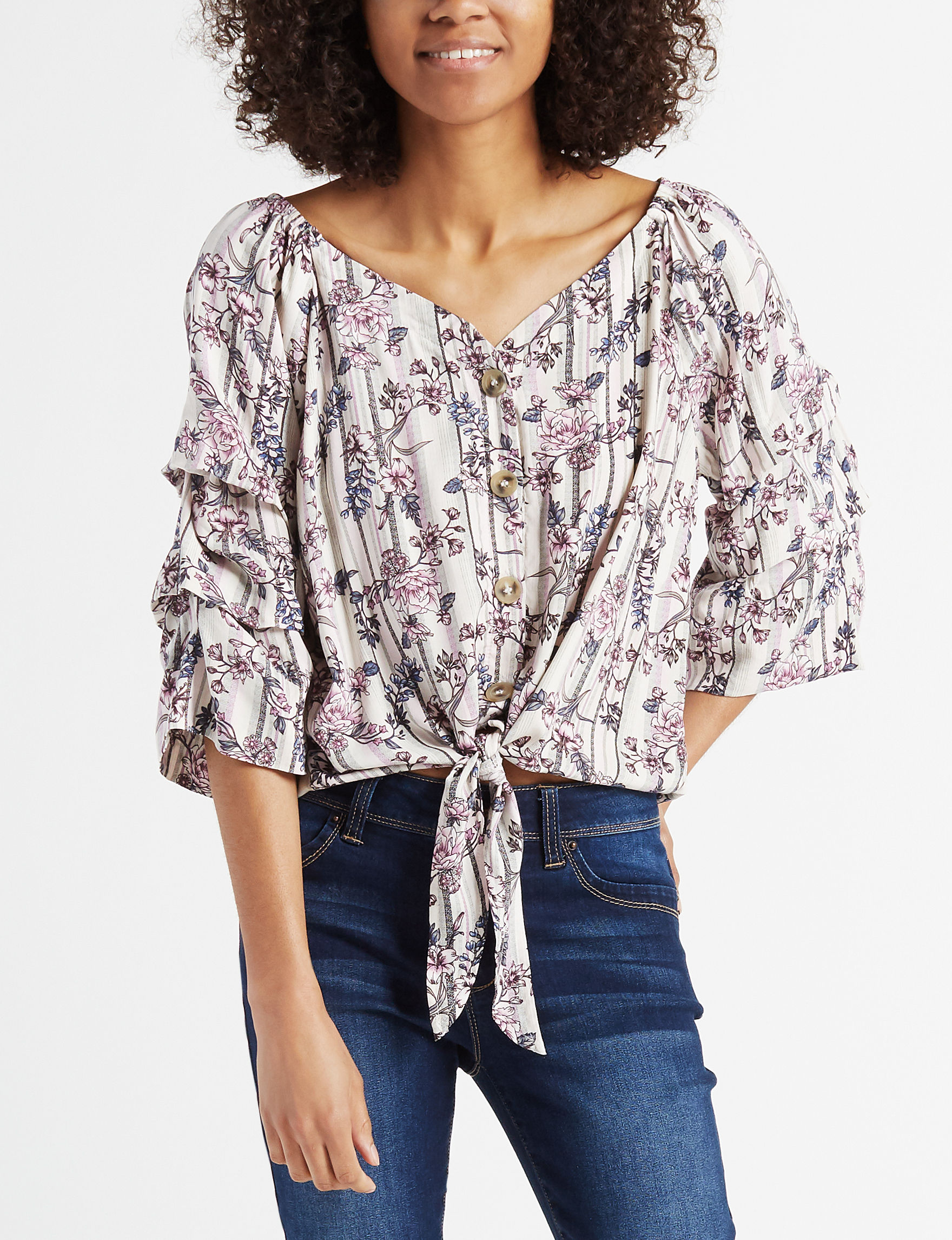 Almost Famous Pink Floral Shirts & Blouses