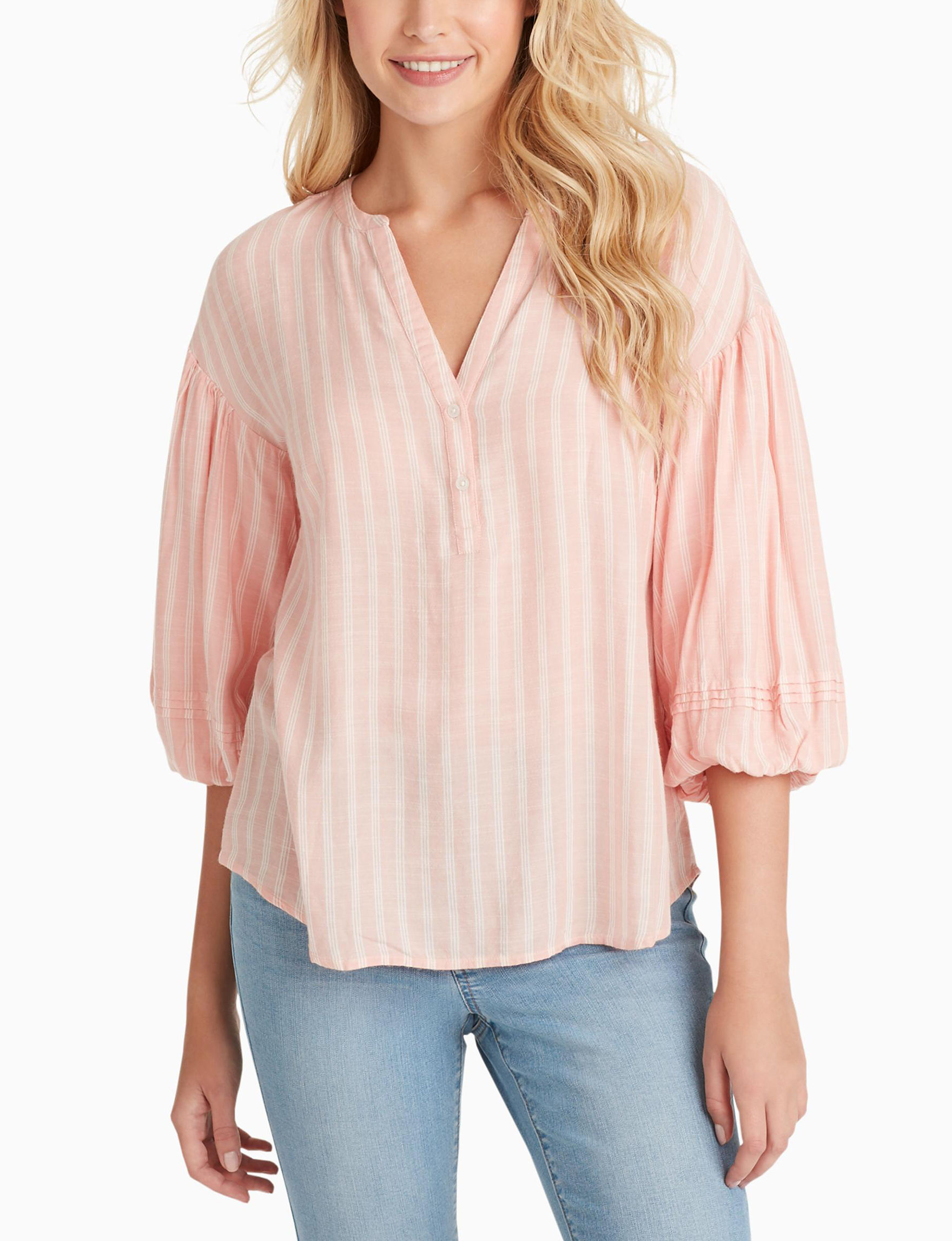 Jessica Simpson Pink / White Shirts & Blouses
