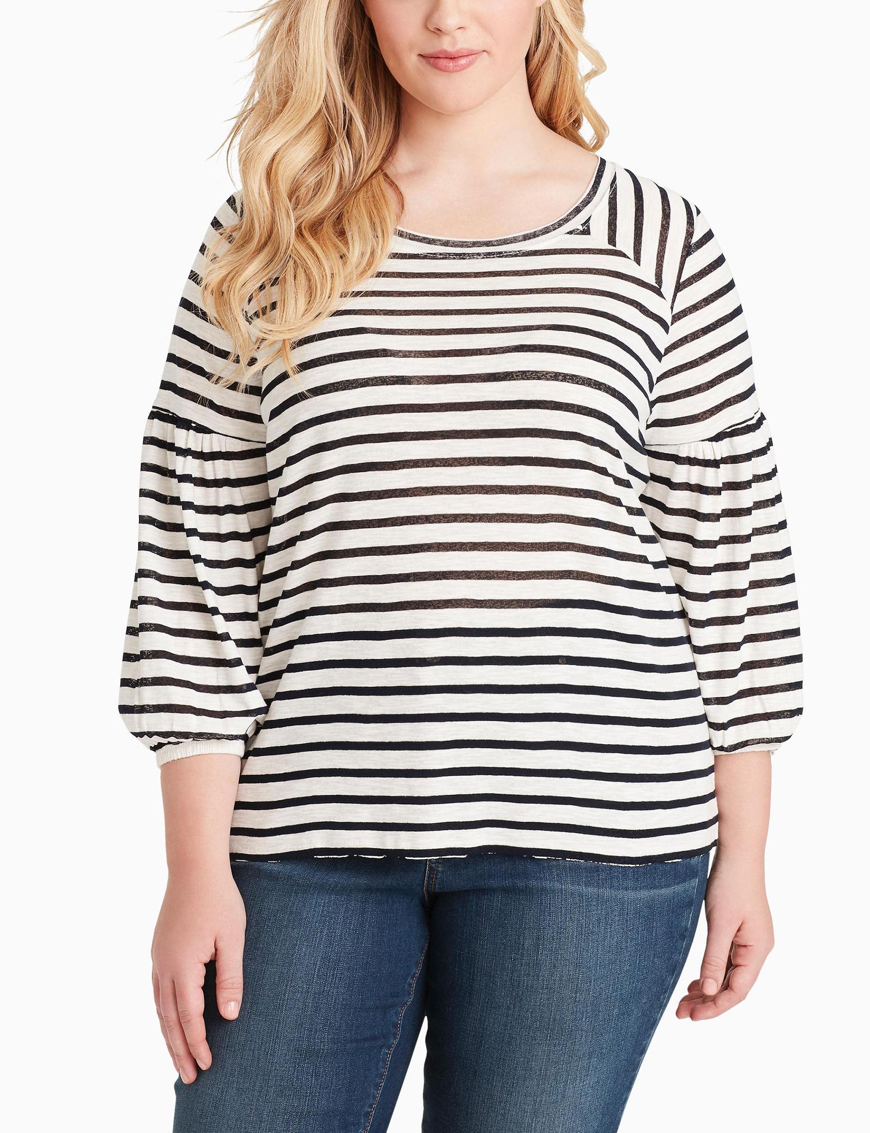 Jessica Simpson Off White Stripe Shirts & Blouses