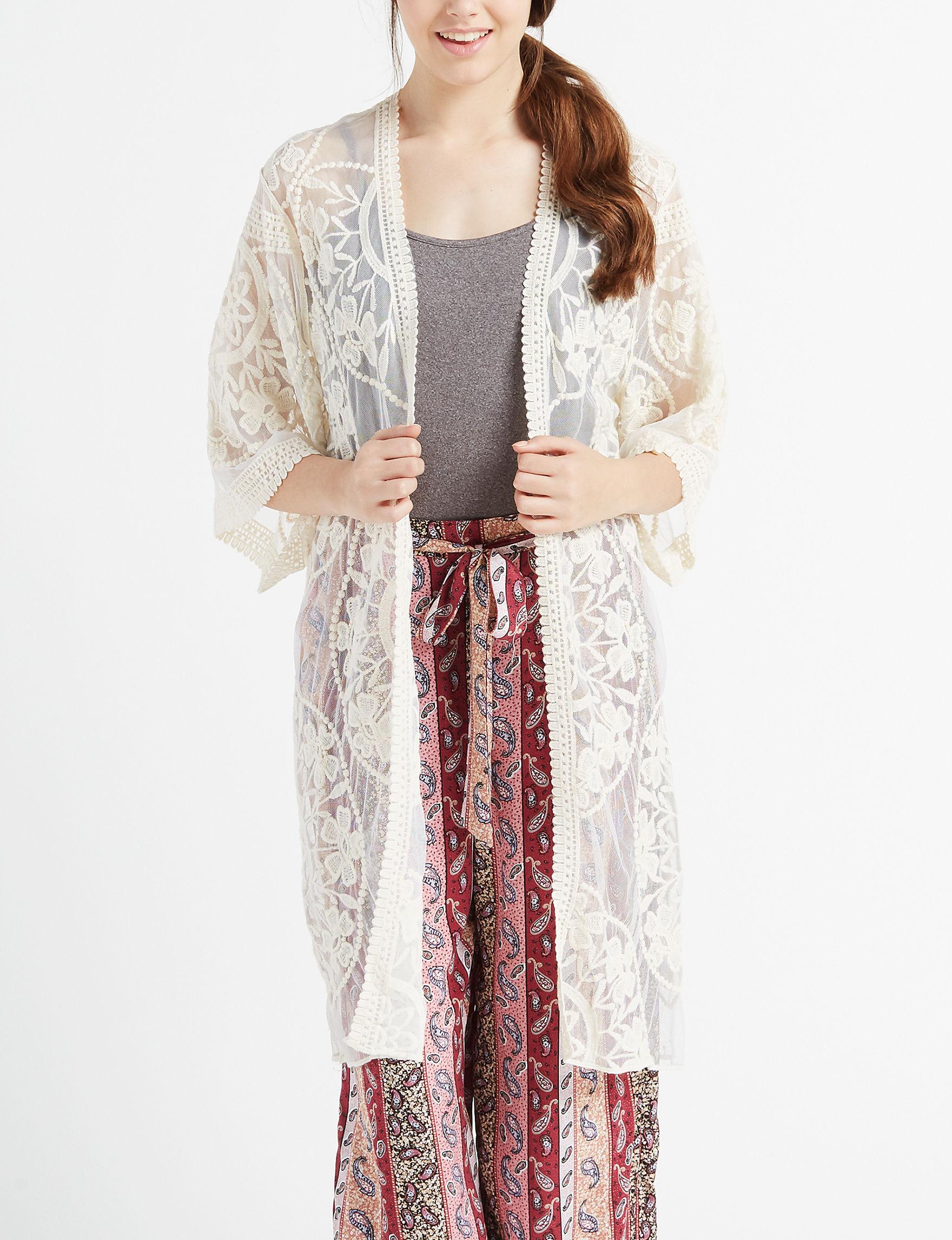 Eyeshadow Off White Cardigans Kimonos & Toppers