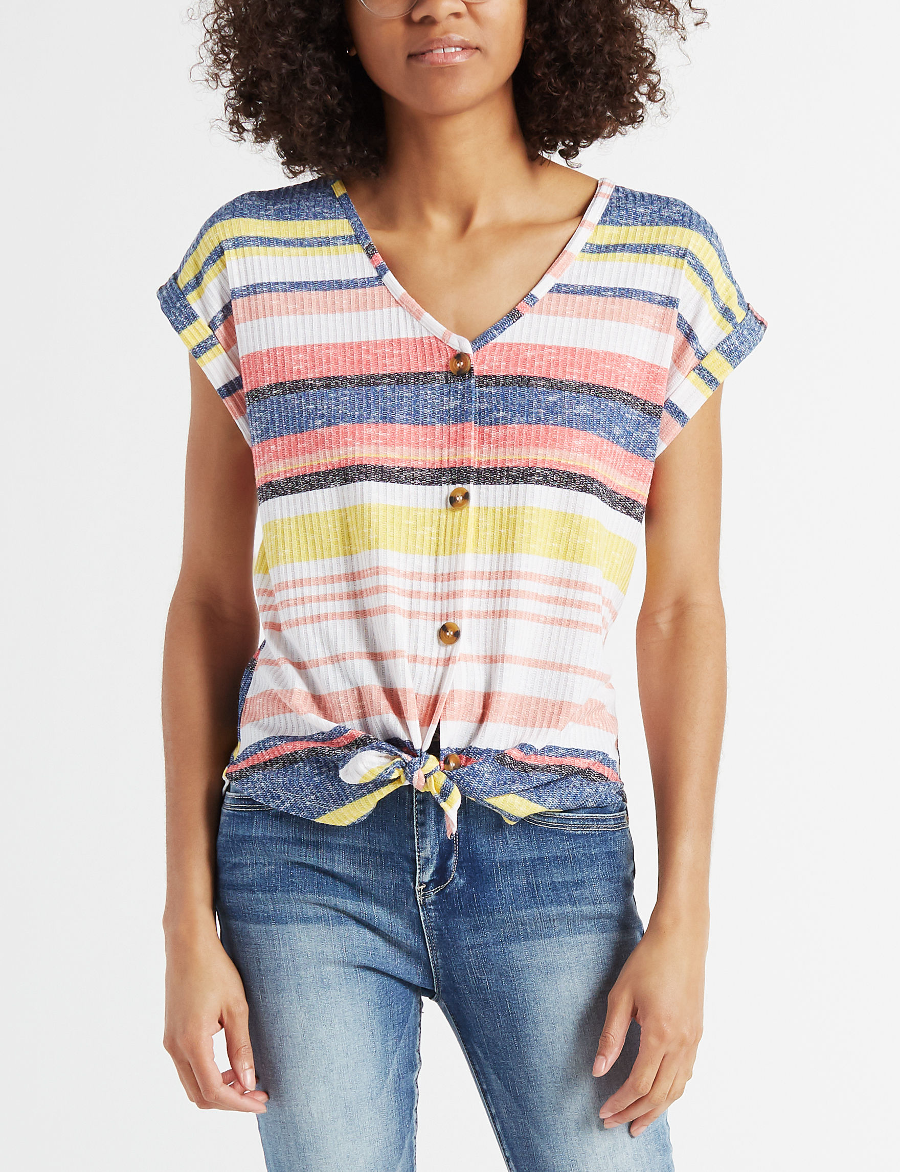 Almost Famous Coral Multi Tees & Tanks