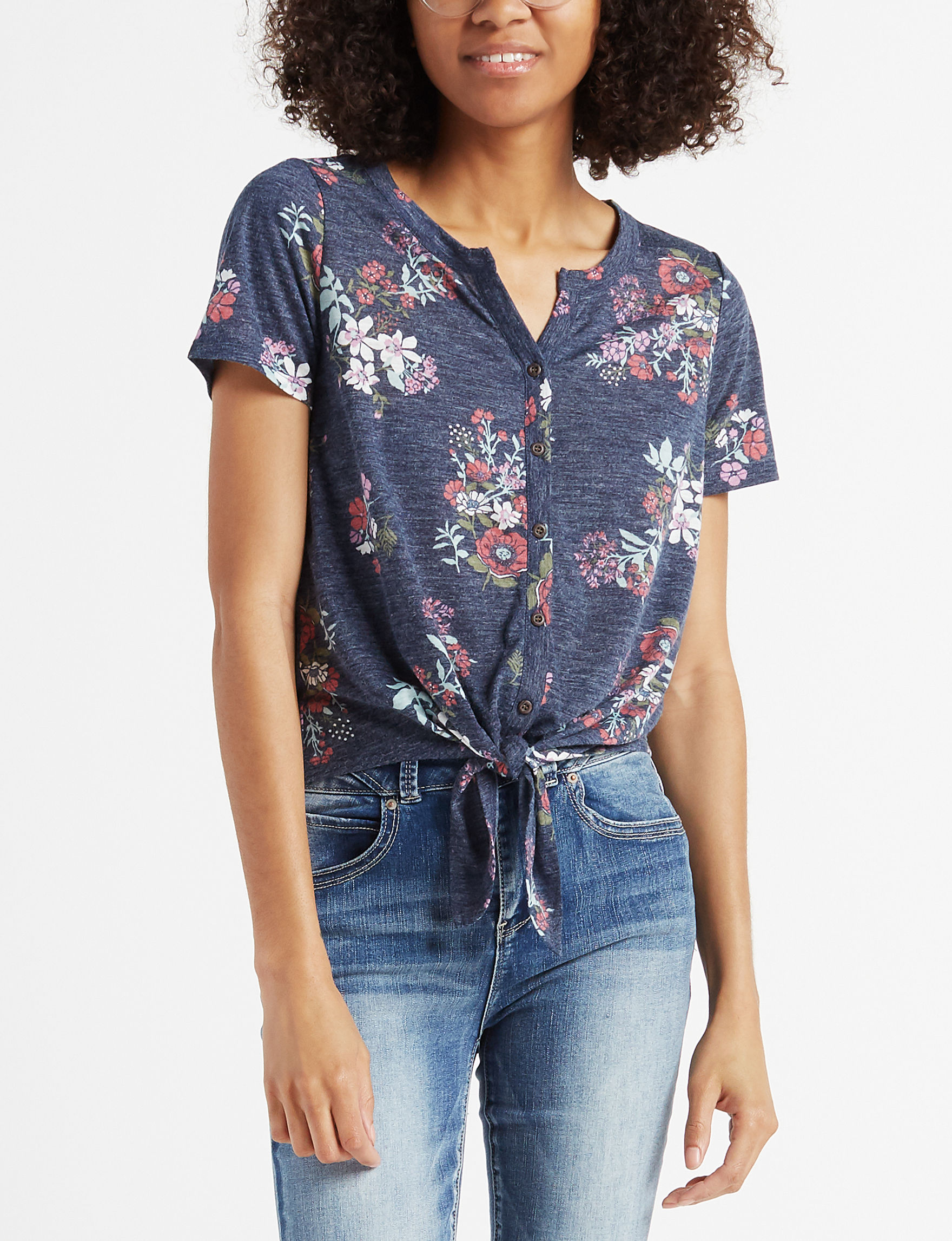 WallFlower Navy Floral Shirts & Blouses