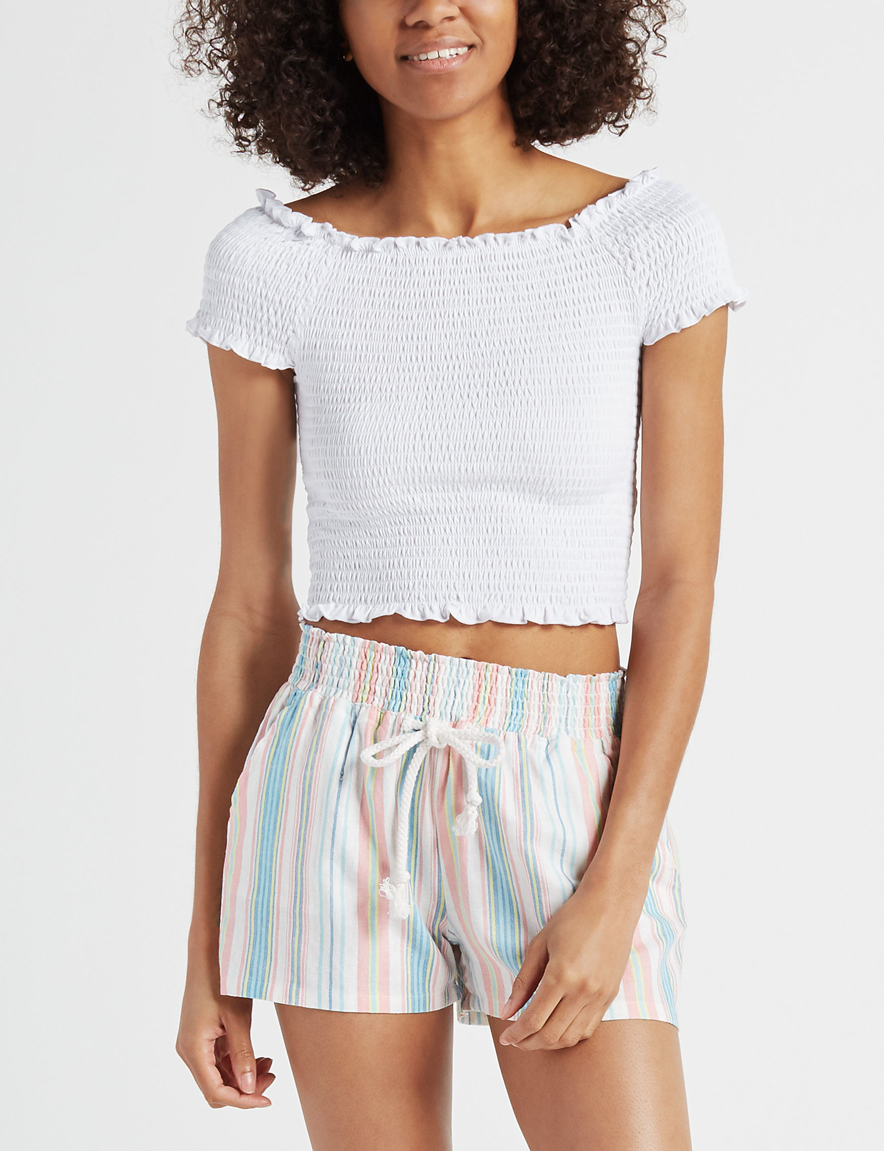 Wishful Park White Crop Tops Shirts & Blouses