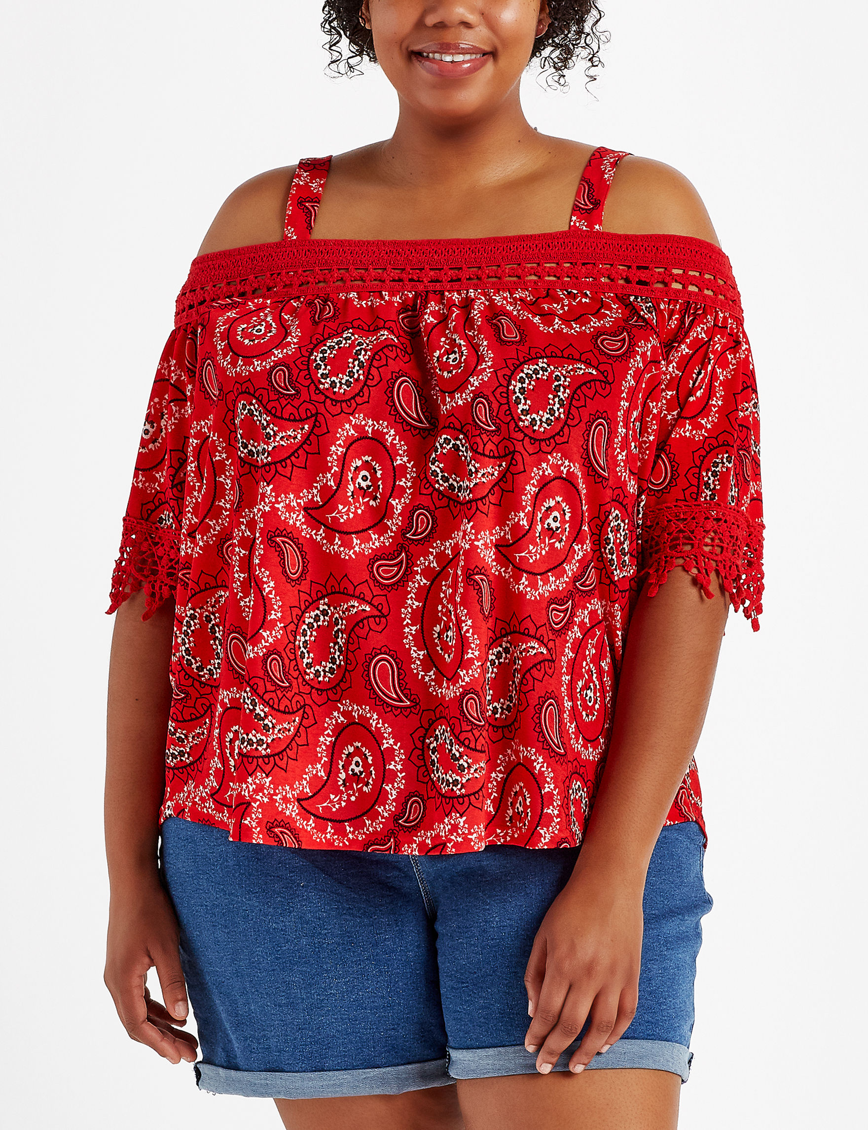 Justify Red Paisley Shirts & Blouses
