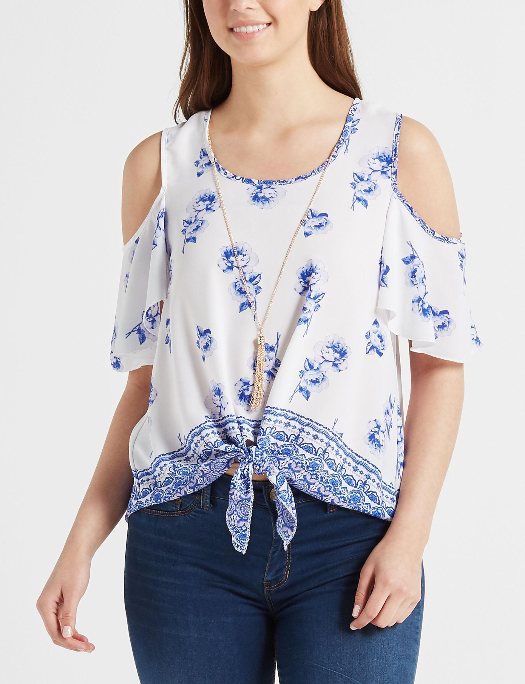 Wishful Park White / Blue Shirts & Blouses