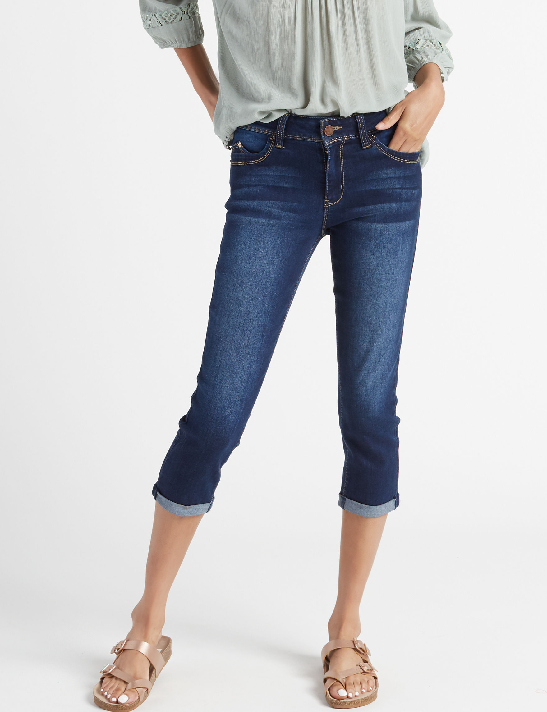 YMI Dark Blue Capris & Crops Shaping Stretch