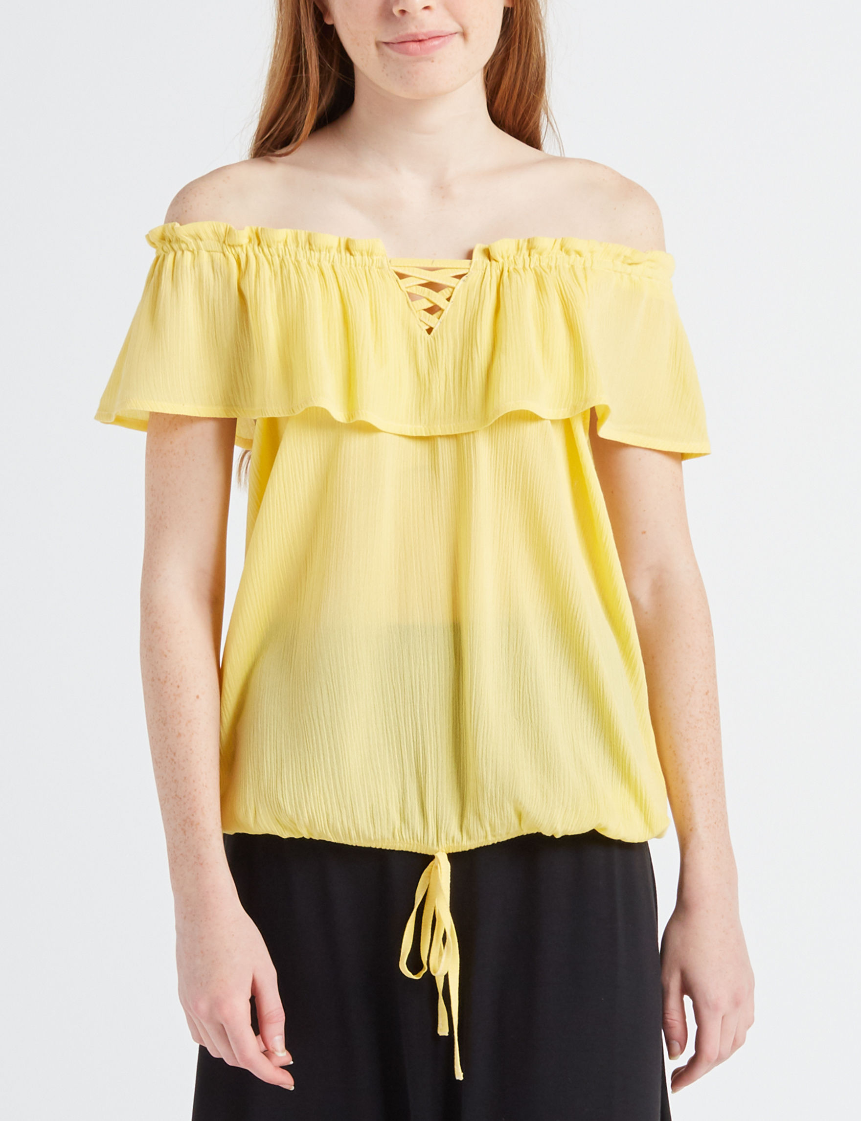 Moral Fiber Yellow Shirts & Blouses