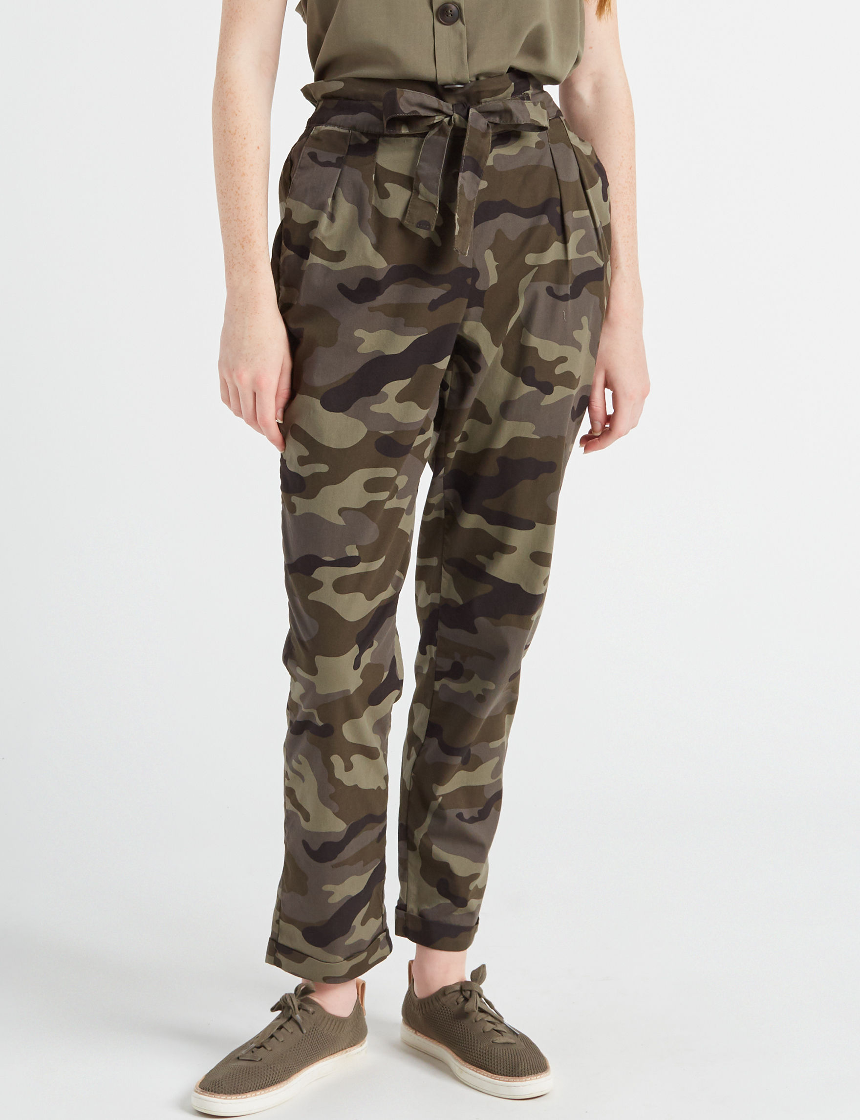 277b9079940 Almost Famous Juniors' Camo Tie Waist Taper Leg Pants | Stage Stores