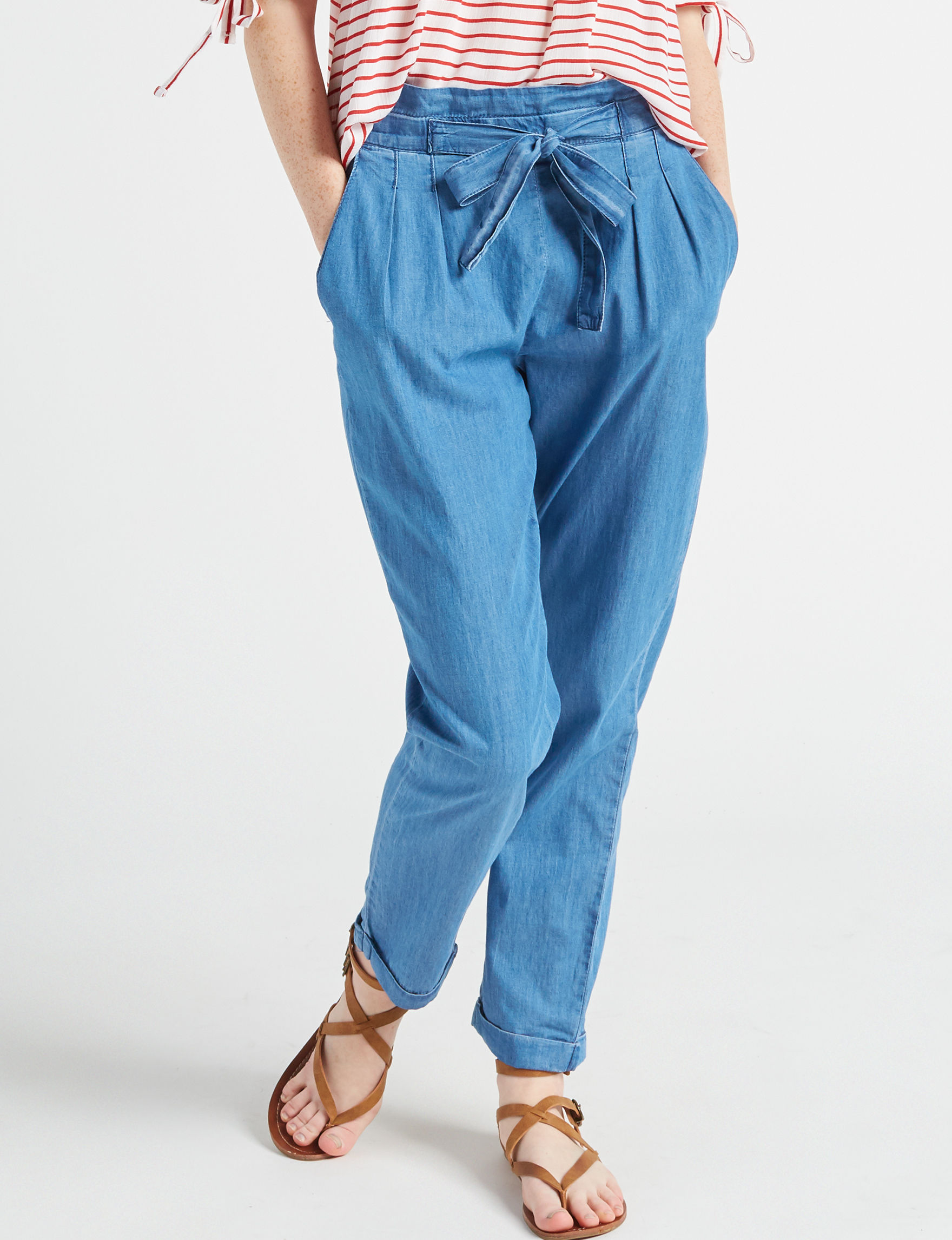 Almost Famous Blue Skinny Soft Pants Tapered