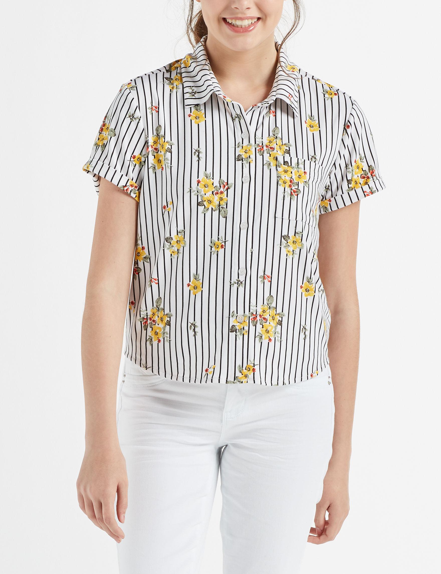Ultra Flirt White Floral Shirts & Blouses