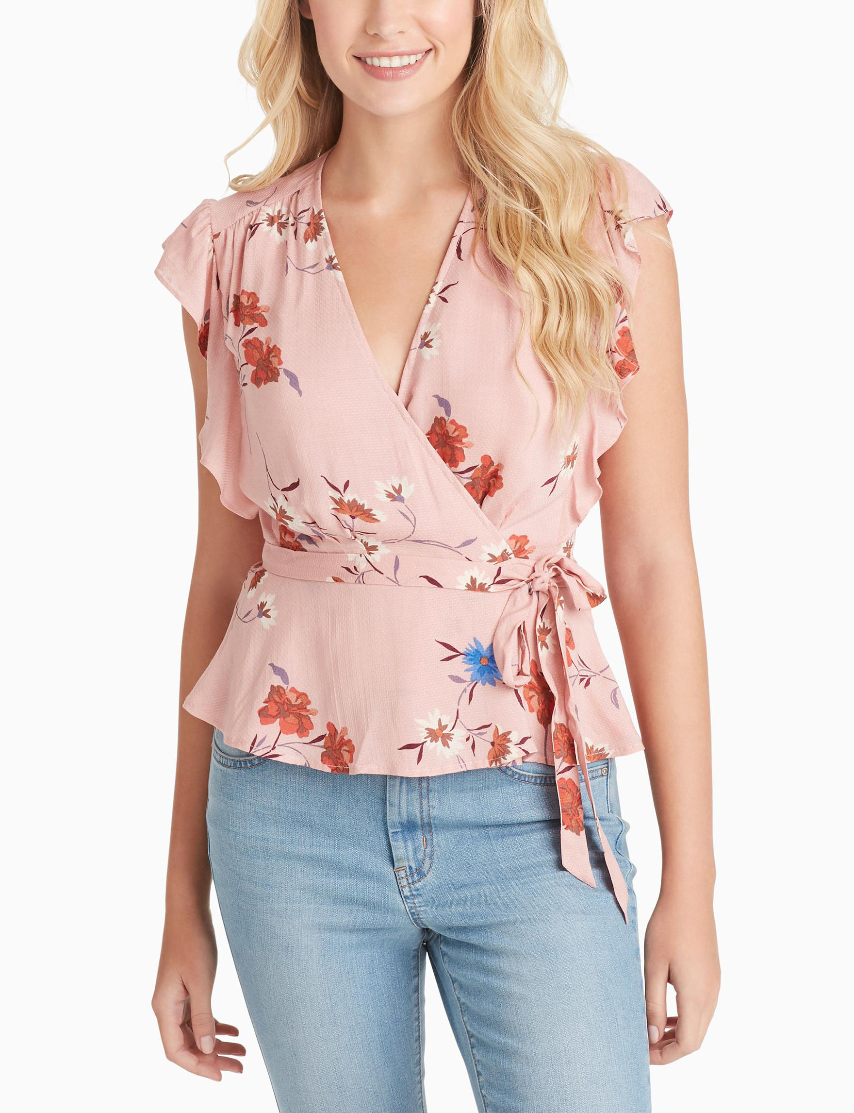 Jessica Simpson Pink Floral Shirts & Blouses