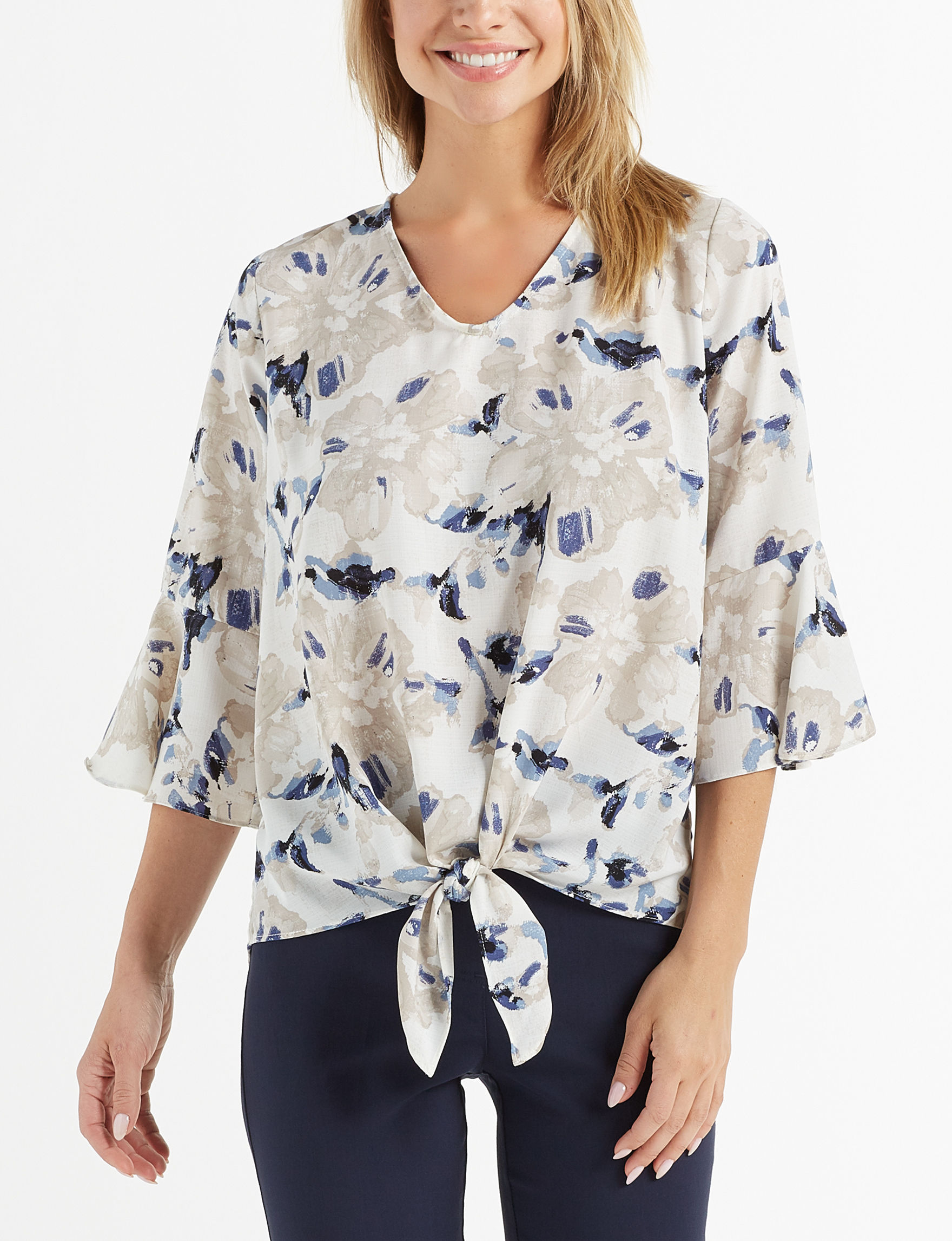 AGB White Floral Shirts & Blouses