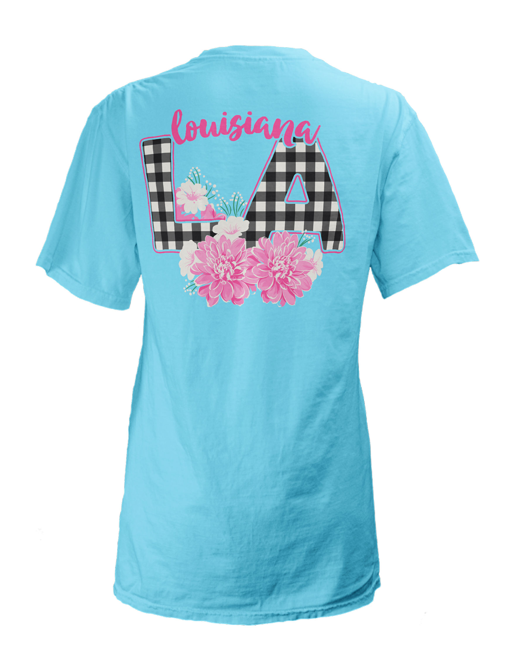 State of Louisiana Juniors' Gingham Flower T-shirt | Stage ...