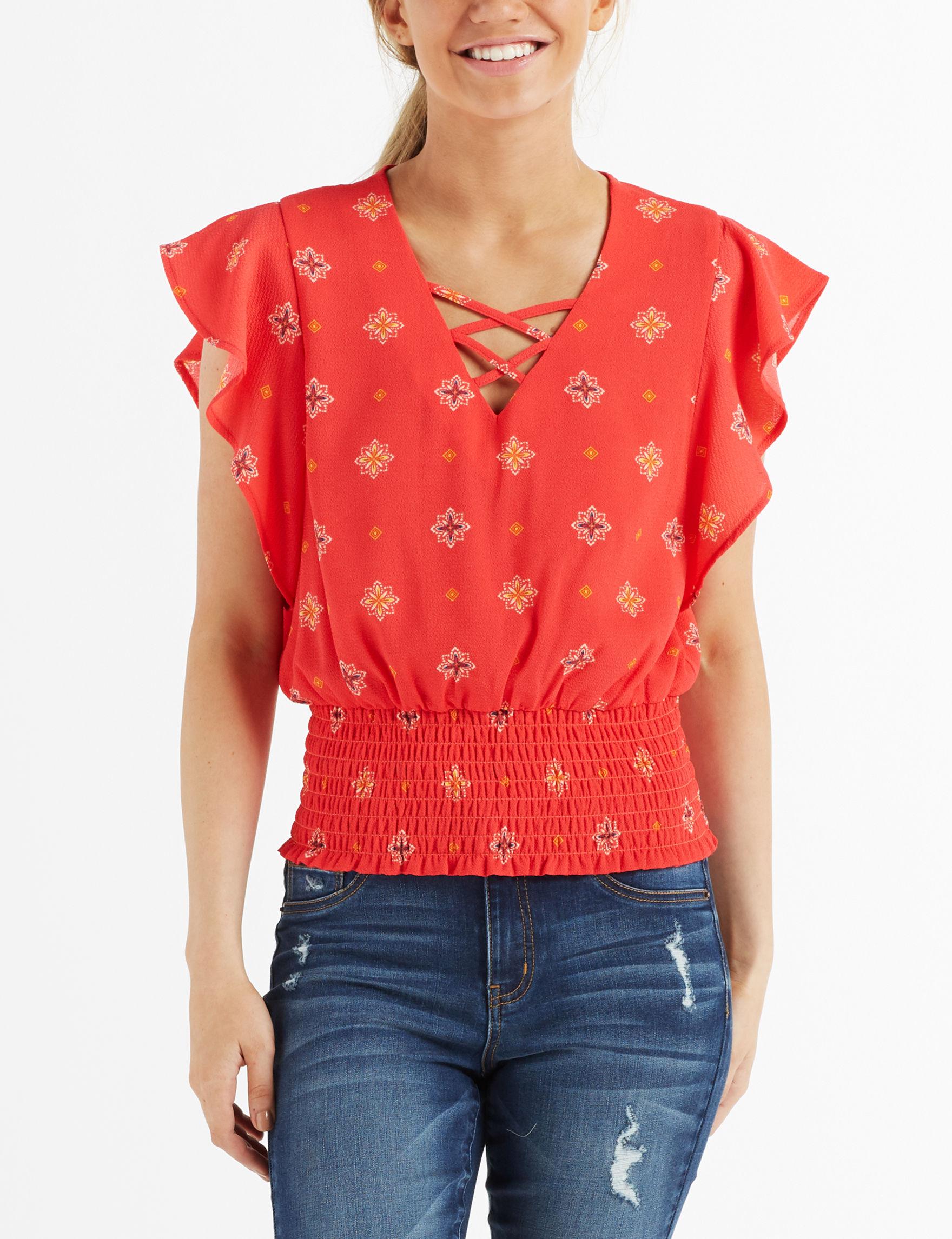 Wishful Park Coral Multi Shirts & Blouses