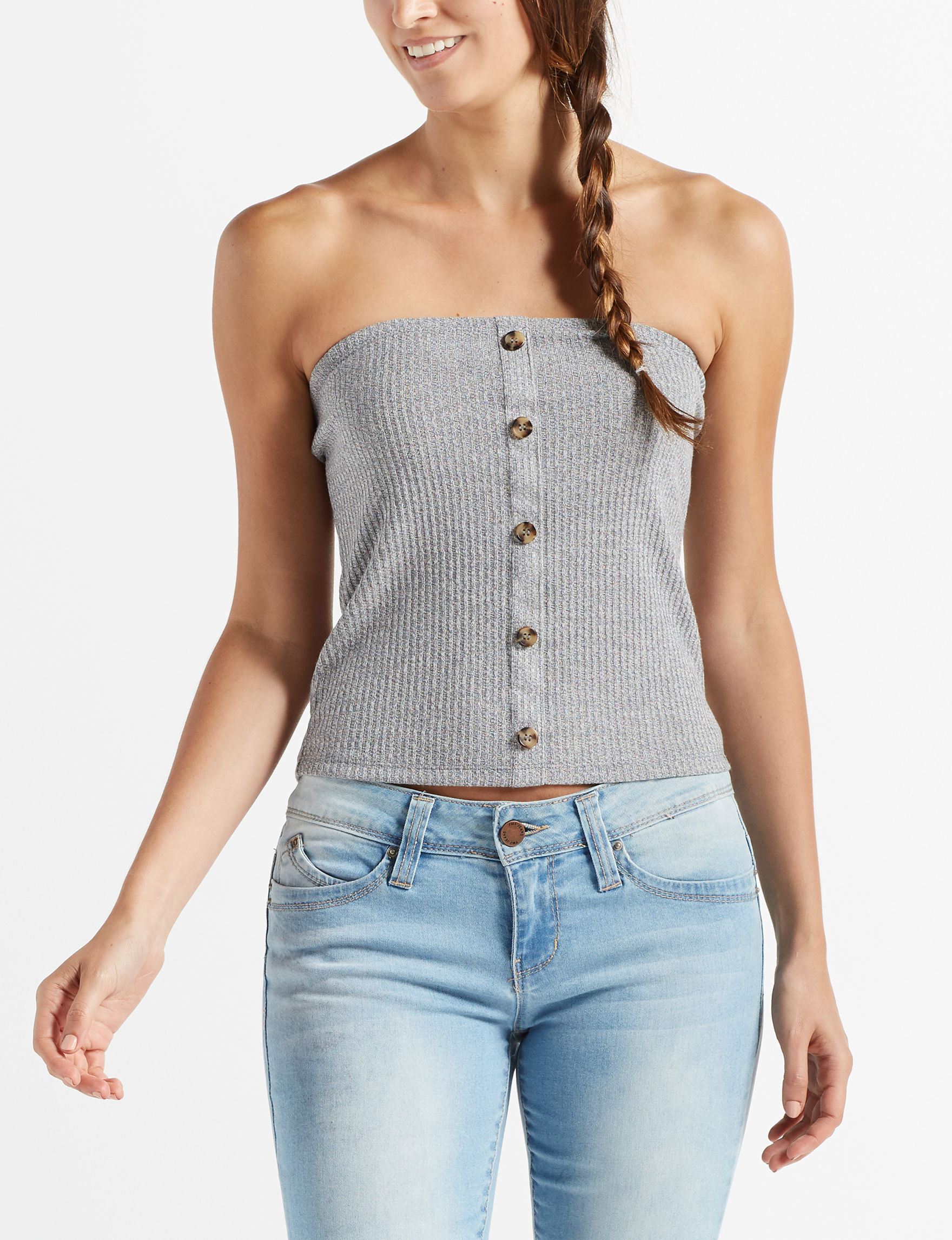 Wishful Park Heather Grey Shirts & Blouses