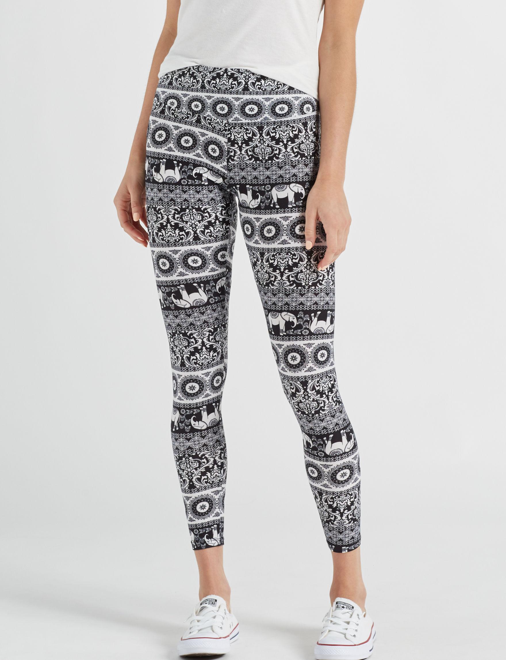 Justify Black / White Soft Pants Stretch