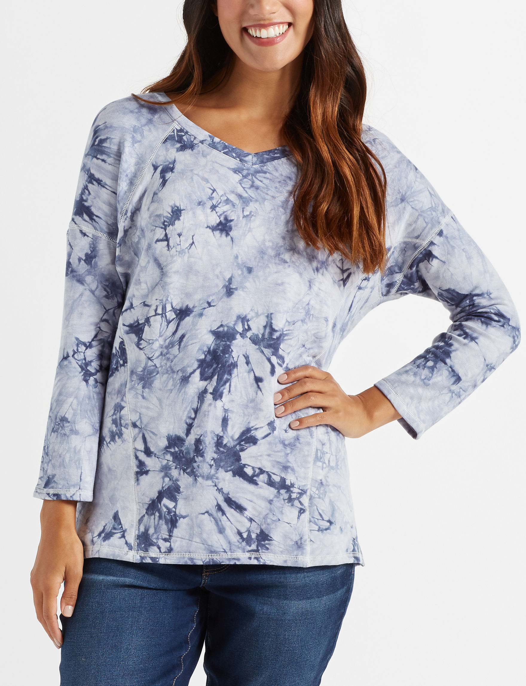 Signature Studio Blue / White Shirts & Blouses