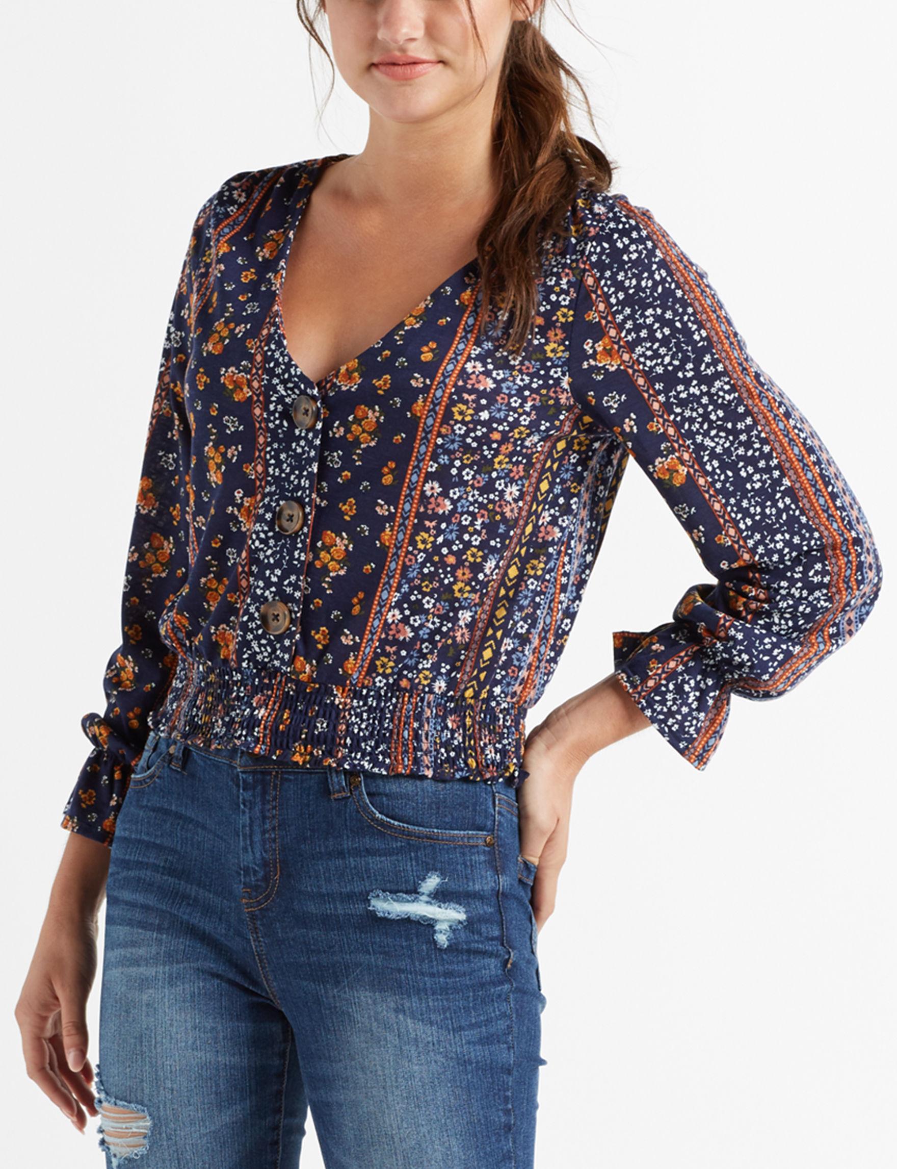 Almost Famous Blue / Multi Shirts & Blouses
