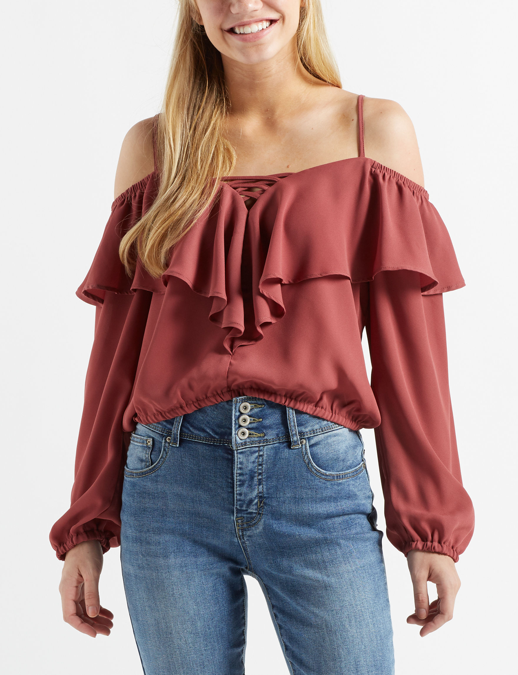 Wishful Park Burgundy Shirts & Blouses