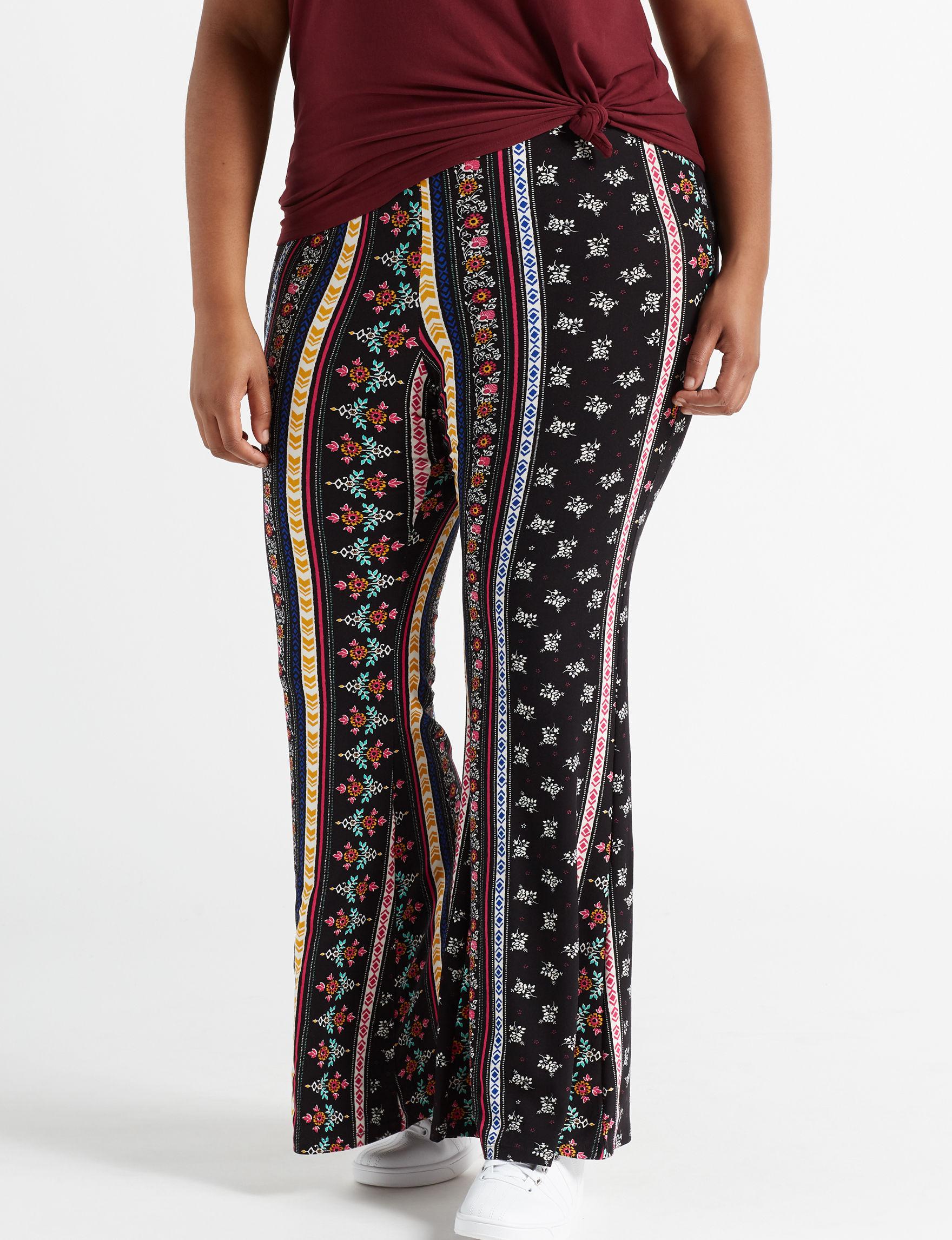 Eye Candy Black Multi Flare Soft Pants
