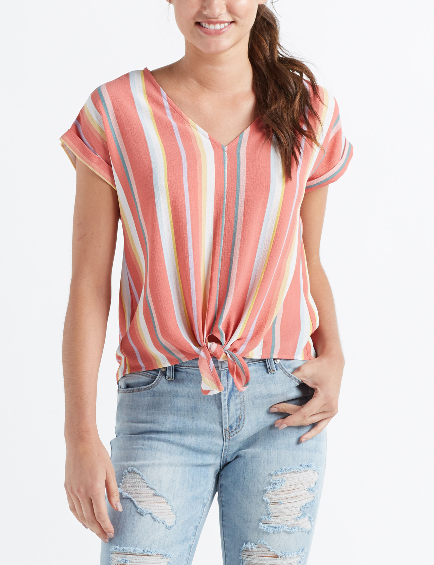 Pink Rose Orange Multi Shirts & Blouses