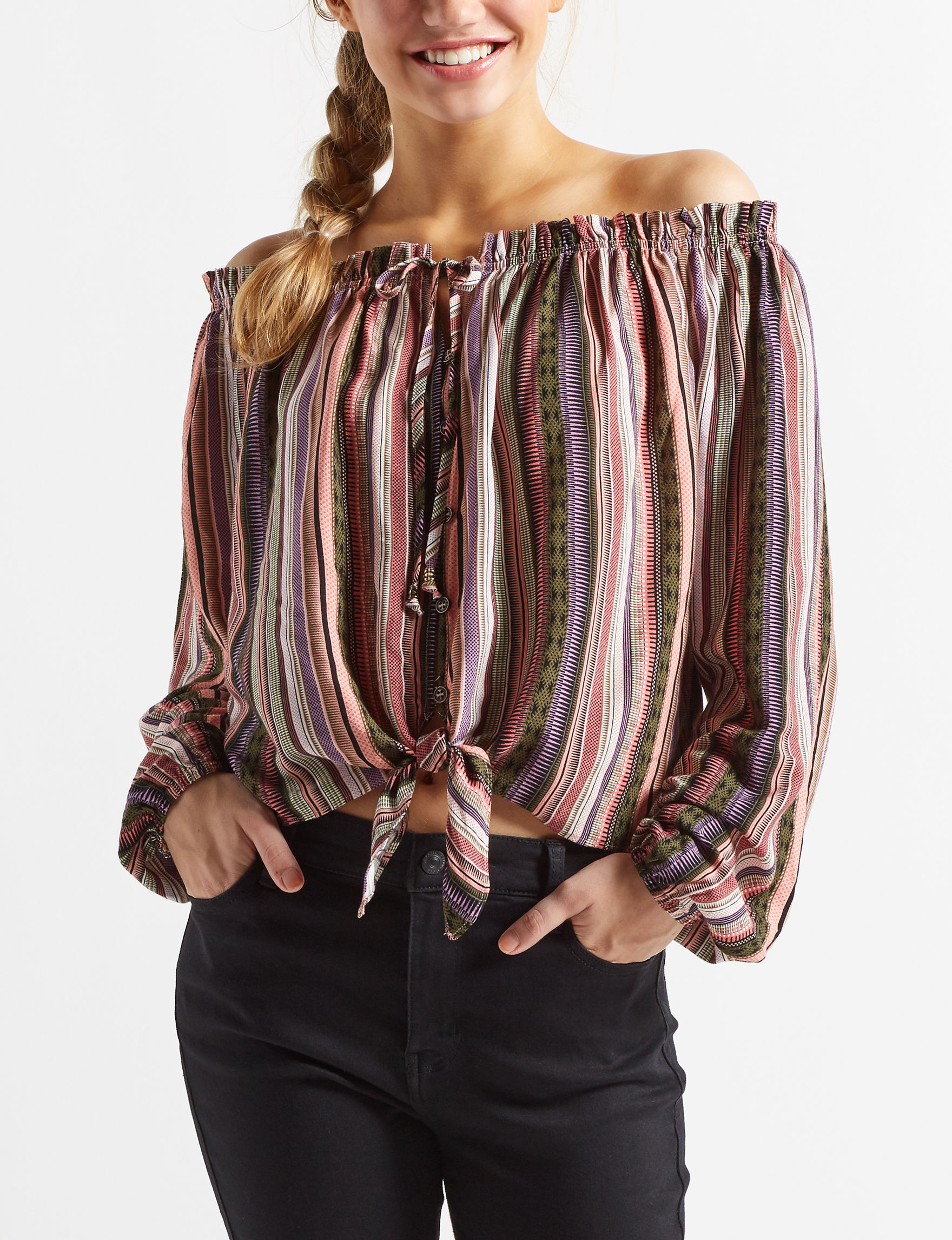 Jolt Black / Coral Shirts & Blouses