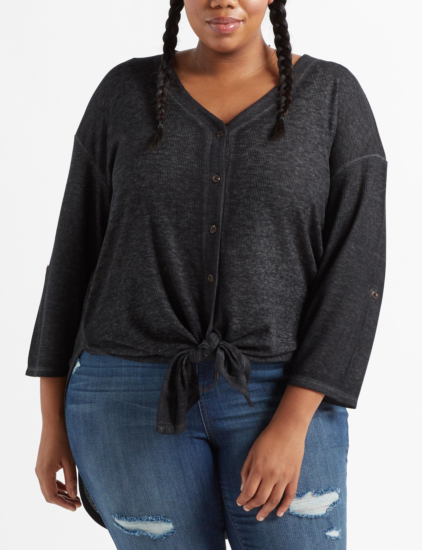 Almost Famous Black Shirts & Blouses Tunics