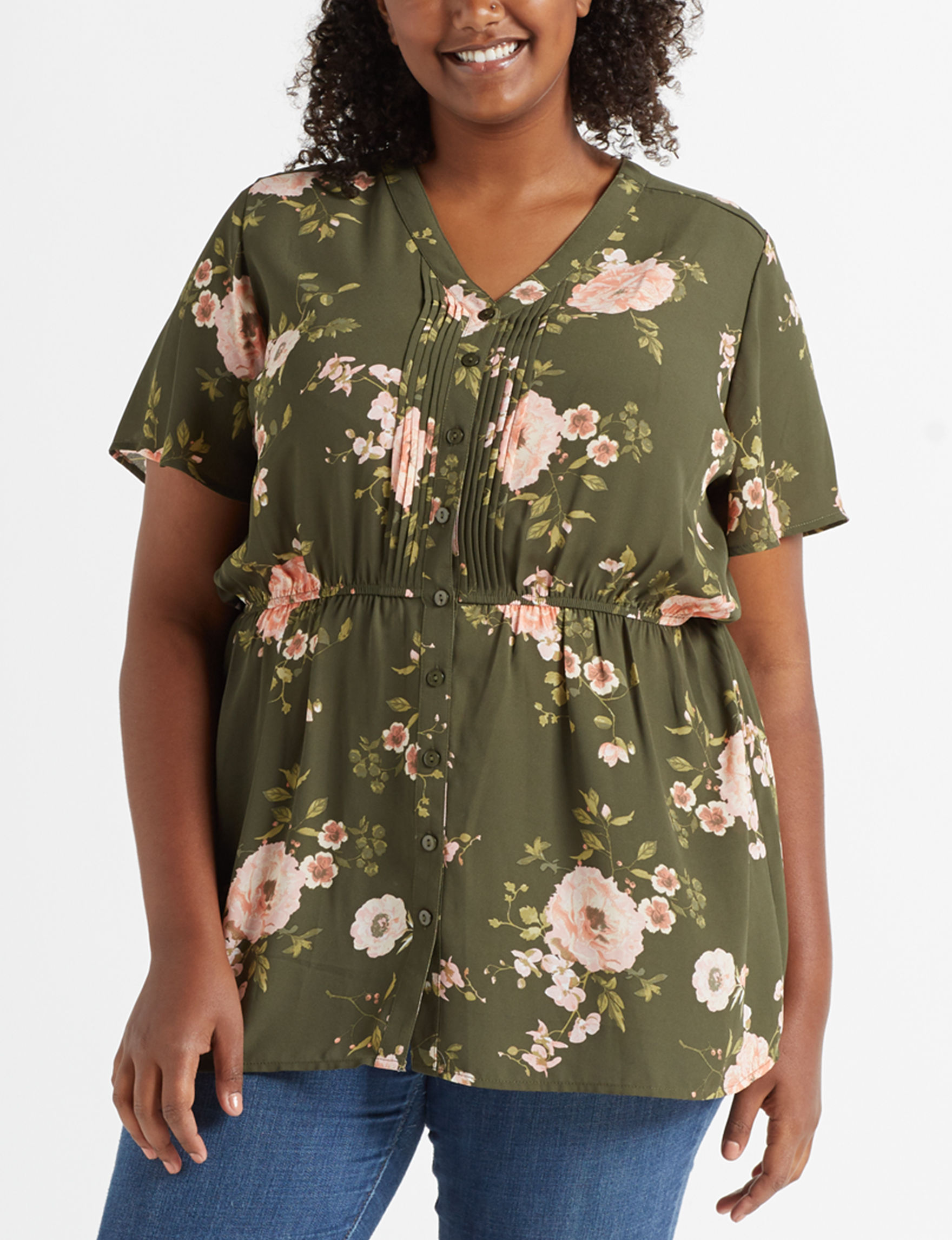 Justify Olive Floral Shirts & Blouses
