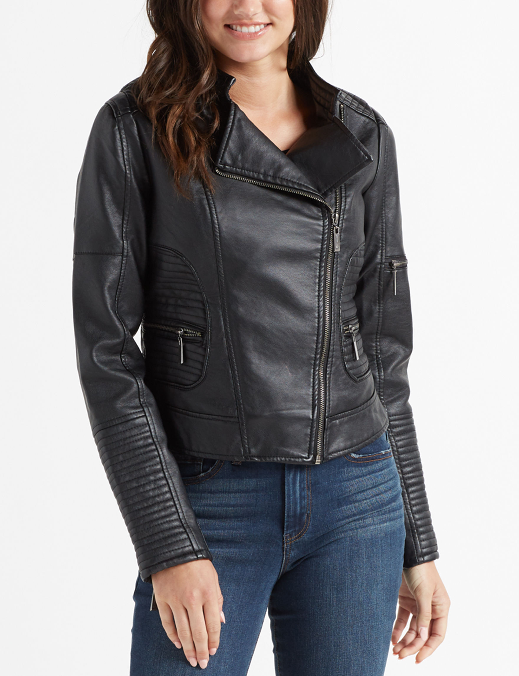 Jou-Jou Black Bomber & Moto Jackets