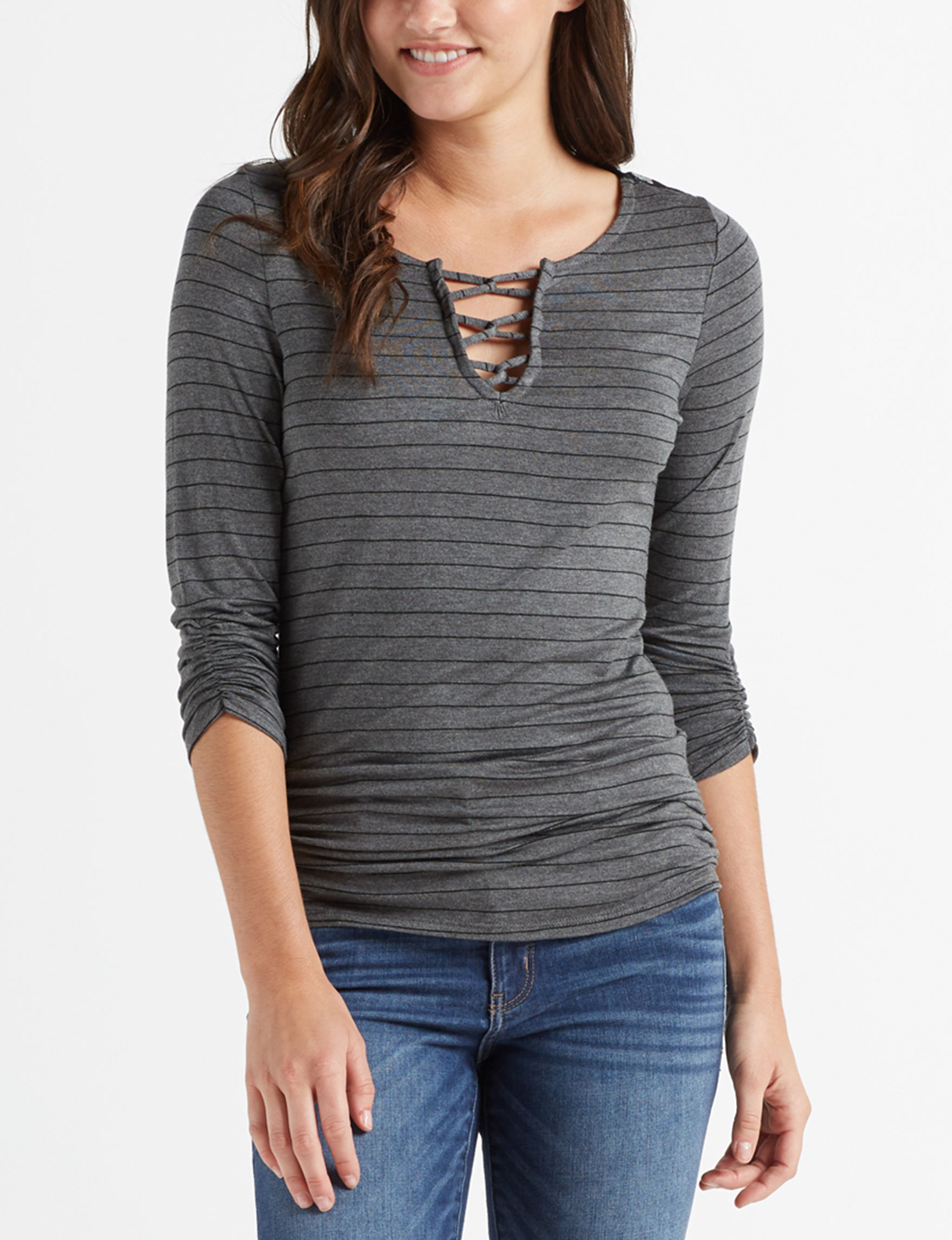 Almost Famous Charcoal / Black Shirts & Blouses