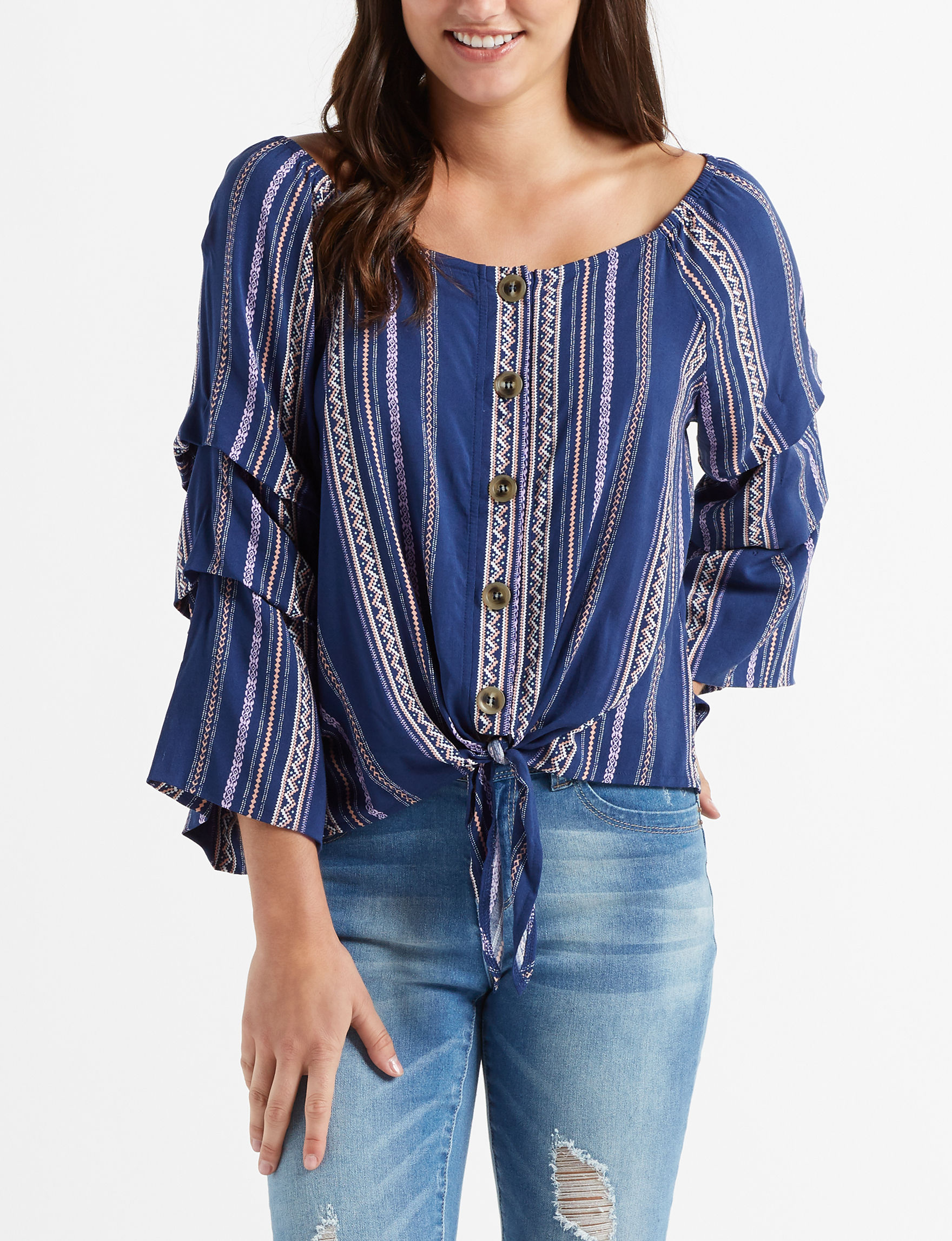 Almost Famous Navy Shirts & Blouses