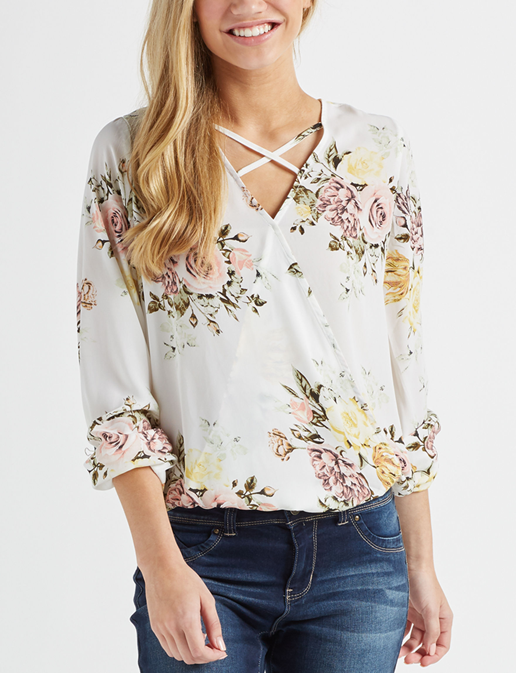 Wishful Park Ivory Floral Shirts & Blouses