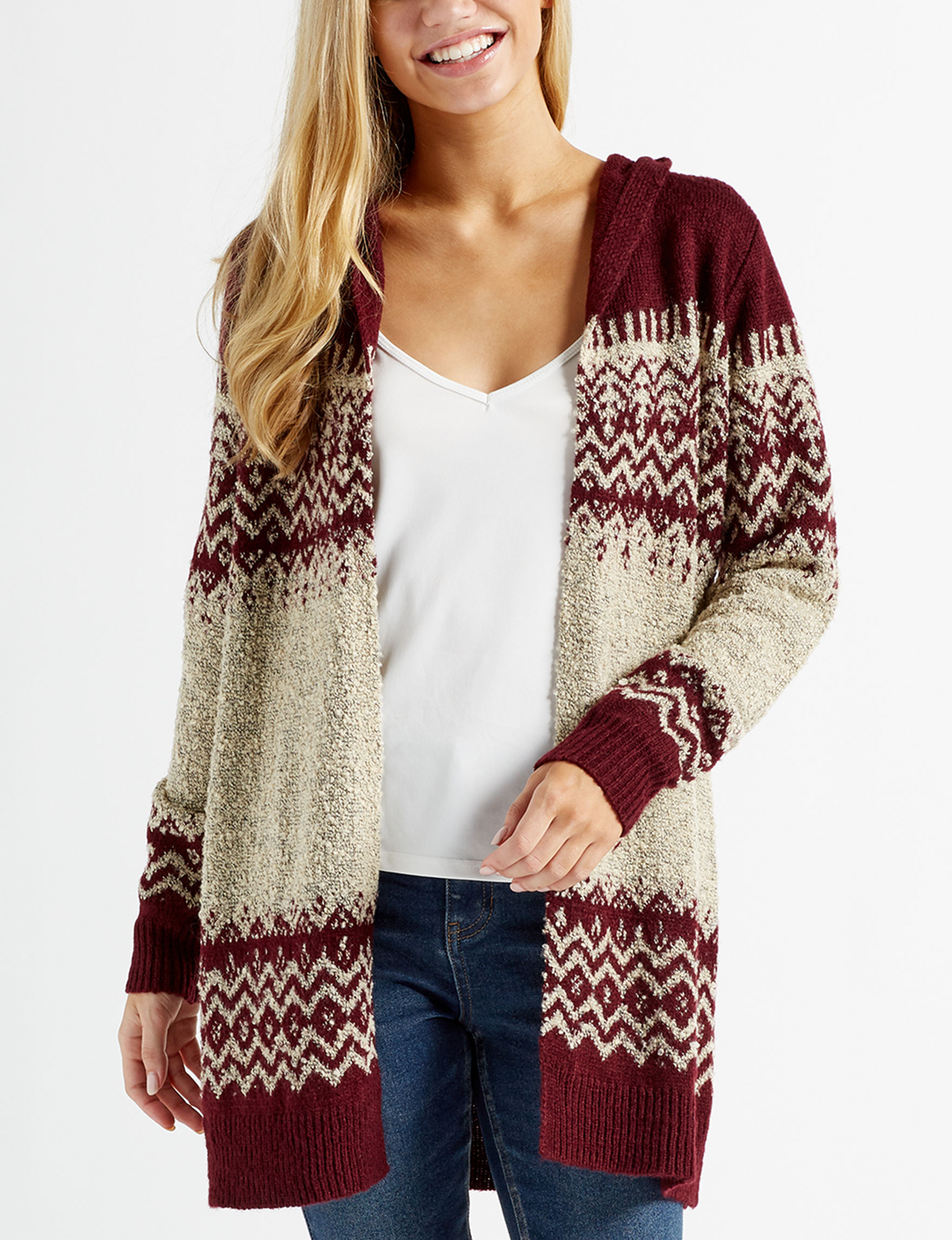 It's Our Time Beige / Burgundy Cardigans