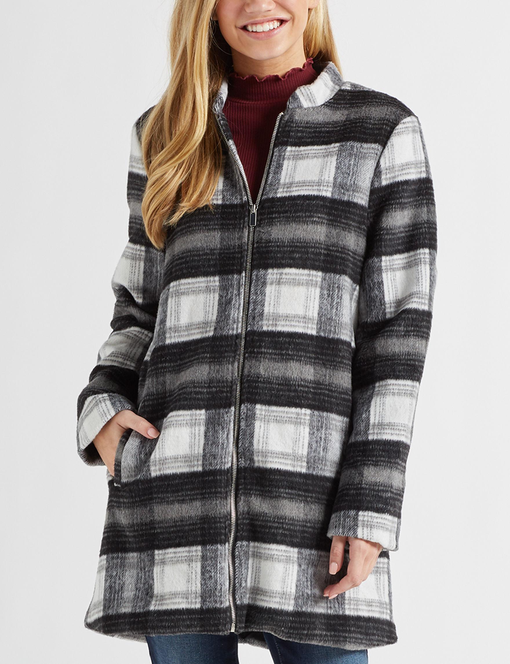 Stoosh Black / White / Grey Peacoats & Overcoats