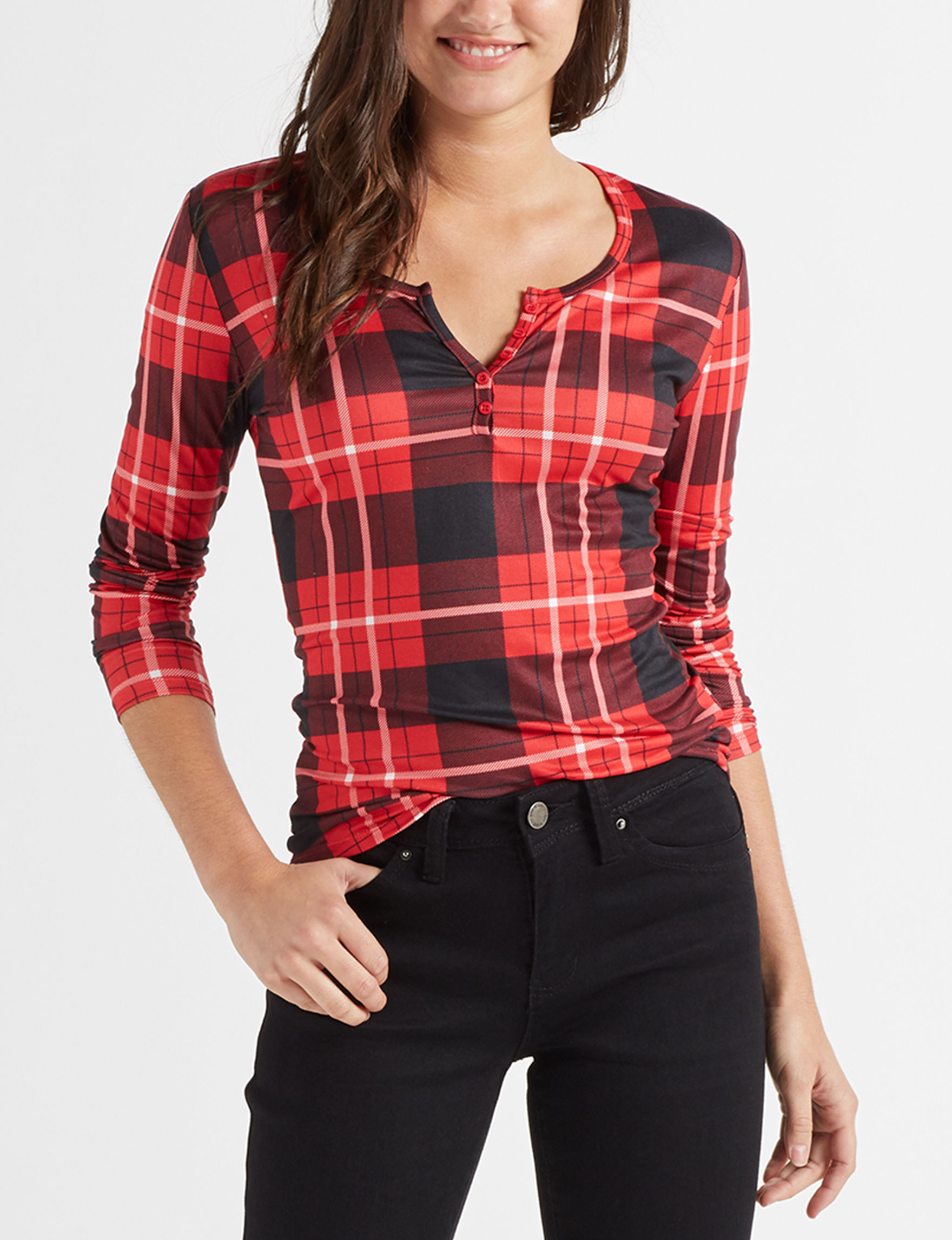 Wishful Park Red Plaid Shirts & Blouses