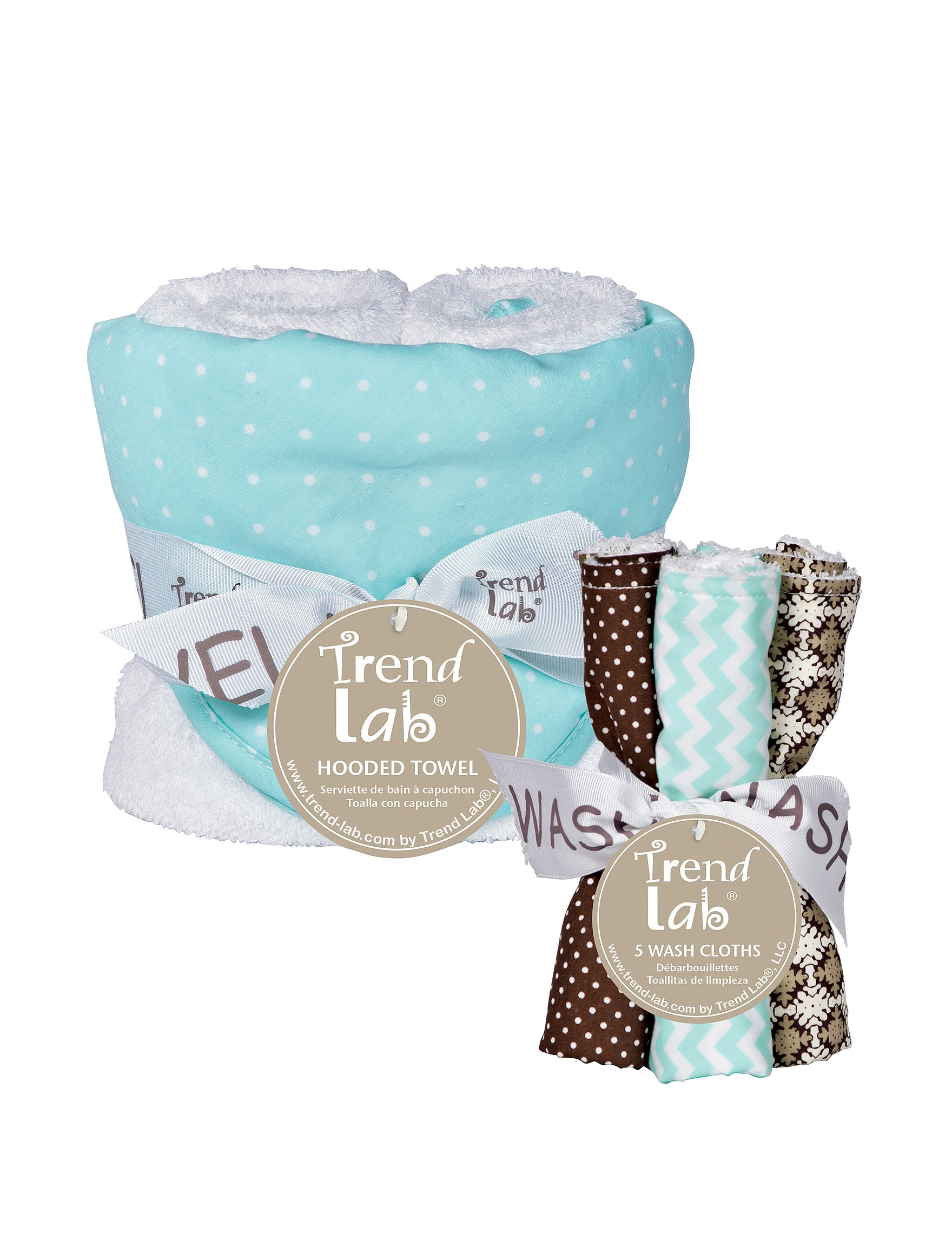 Trend Lab Cocoa Mint 6 pc. Dot Cloth Hooded Towel & Wash Cloth Dot Bouquet Set ... 64af97