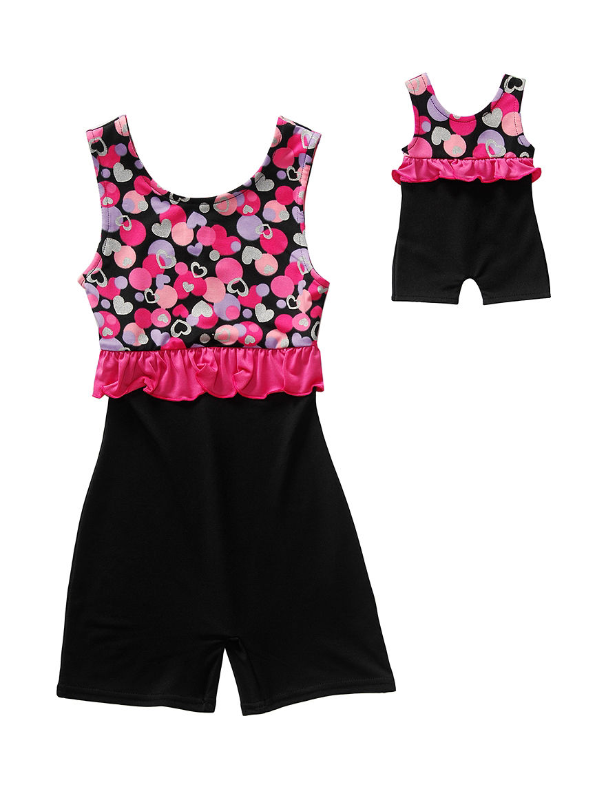 dd03926670 UPC 888481347452 product image for Dollie   Me Pink Heart Print Ruffled  Unitard Girls - Pink