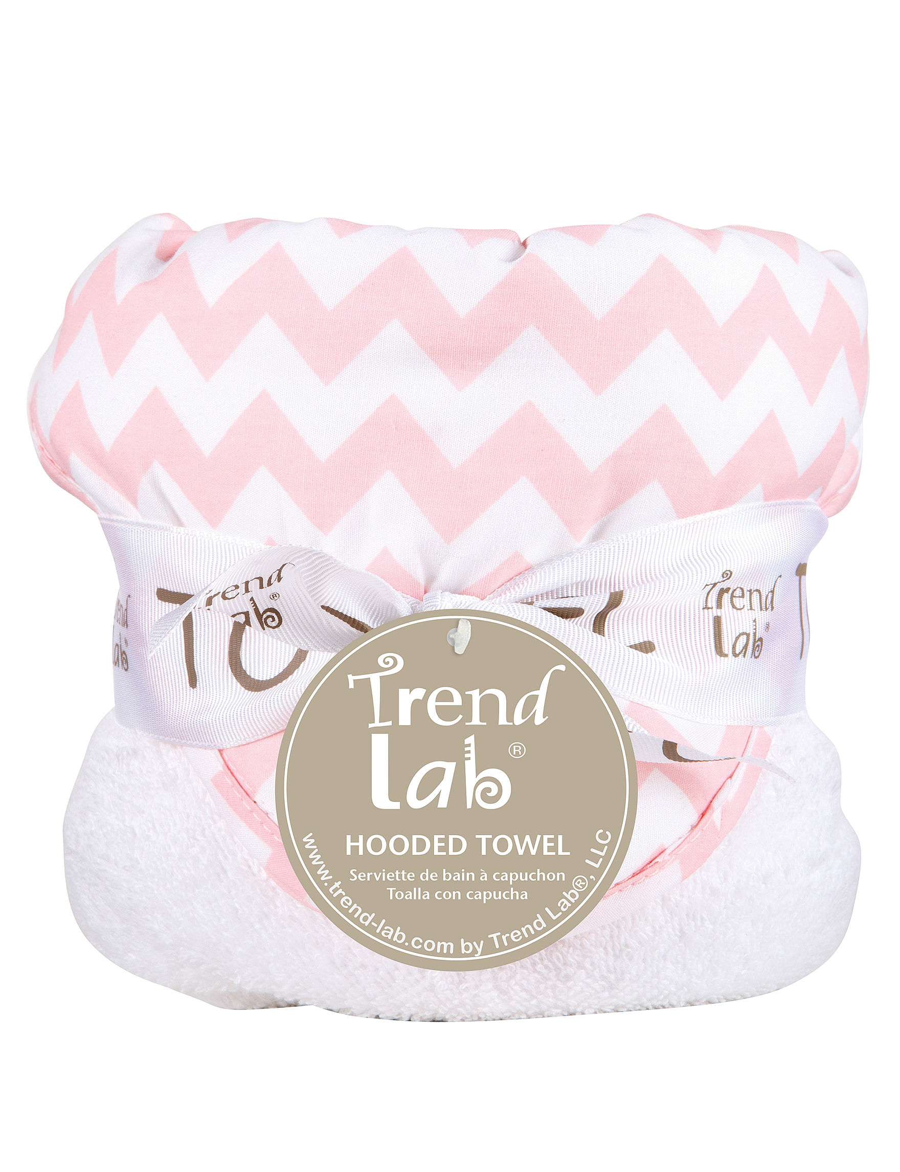 Trend Lab Pink / White Hooded Towels