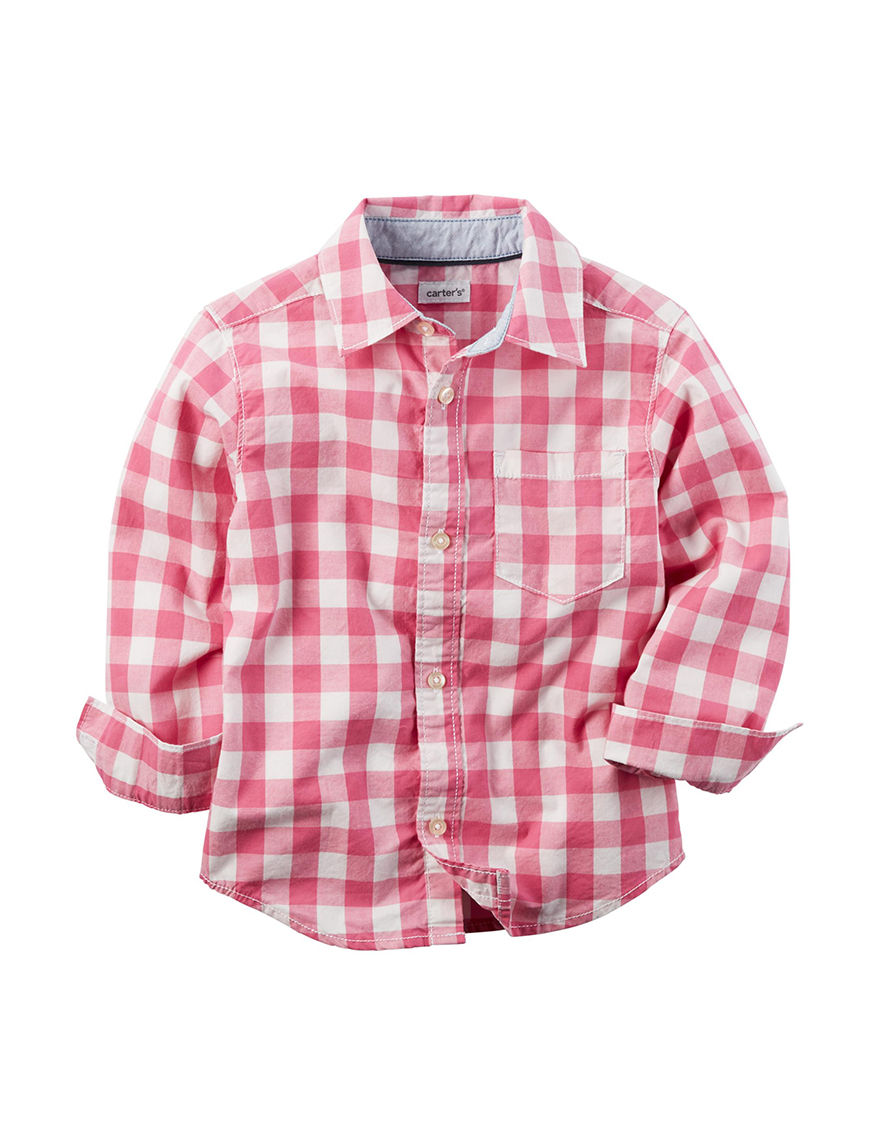 Carter's Red Plaid Casual Button Down Shirts